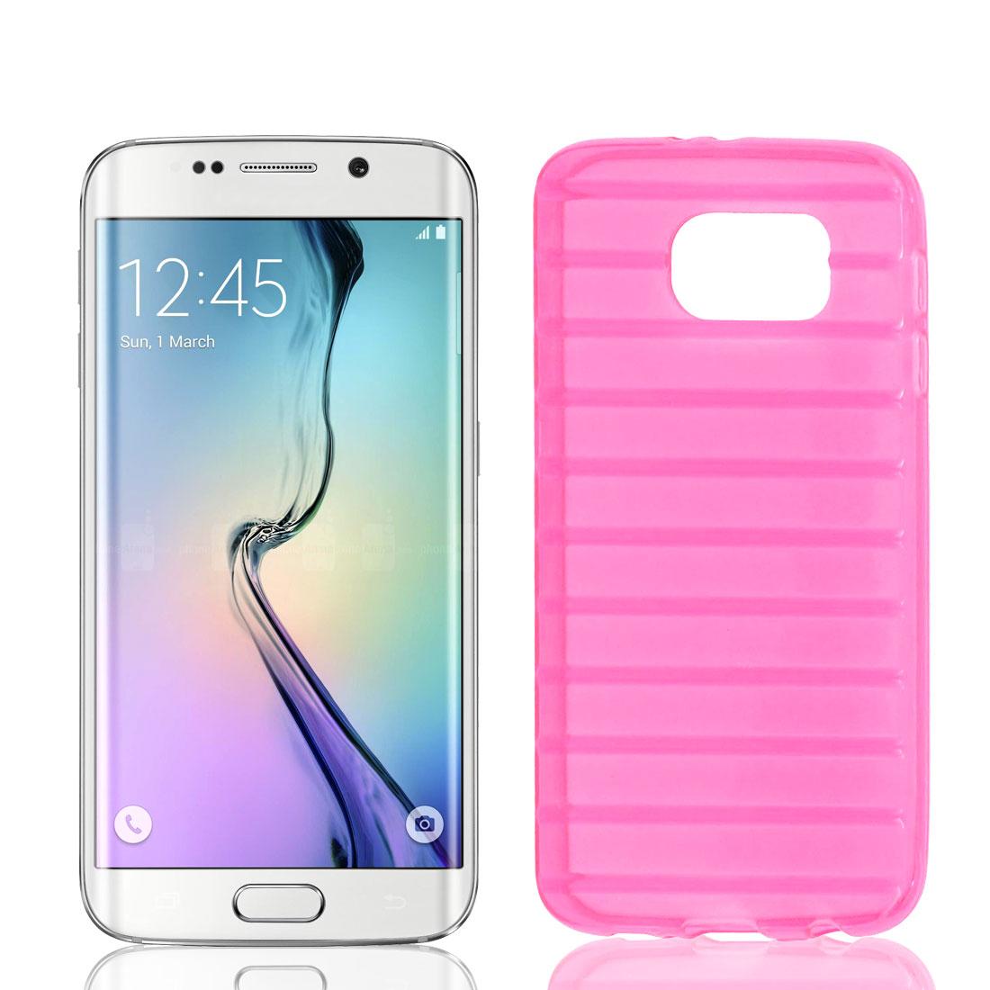 TPU Slim Ladder Design Stripe Bumper Cover Case Skin Shell Pink for Galaxy S6