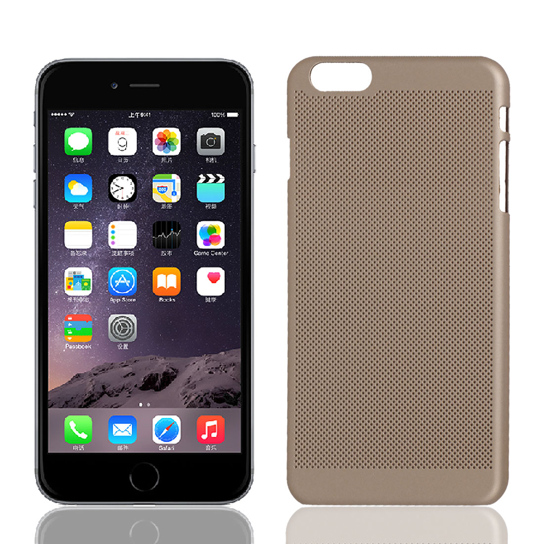 Plastic Mesh Net Style Hard Rugged Cover Case Skin Gold Tone for iPhone 6 Plus