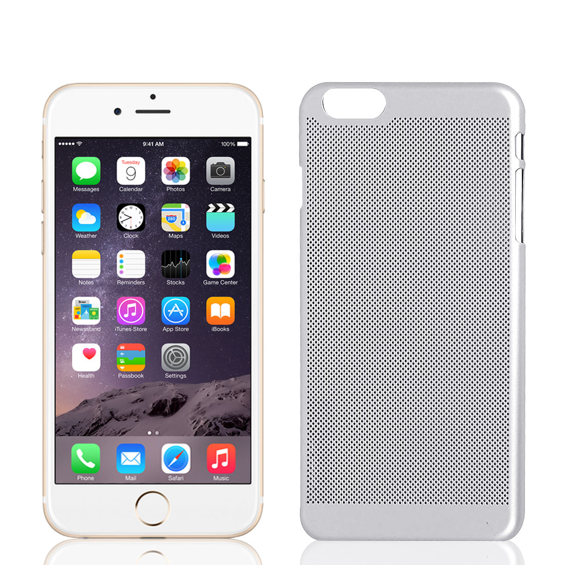 Plastic Mesh Net Style Hard Rugged Cover Case Skin Silver Tone for iPhone 6 Plus