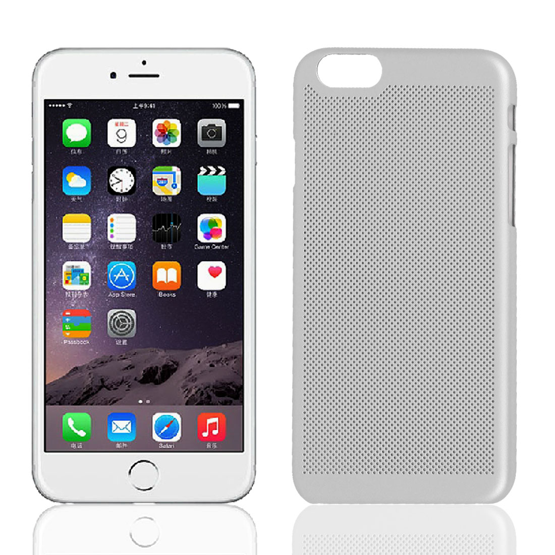 Ultra Thin Mesh Net Hard Protective Cover Case Skin Silver Tone for iPhone 6