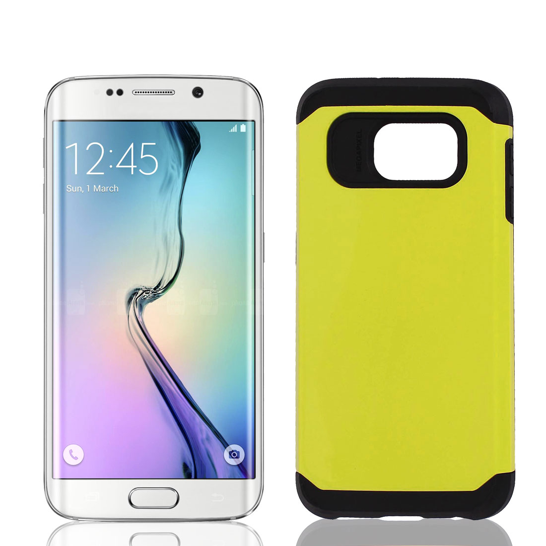 Shockproof 2 Layer Hard Bumper Protective Case Cover Yellow for Galaxy S6 i9200
