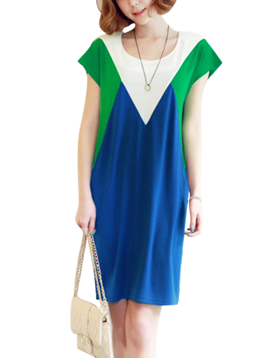 Women Round Neck Short Sleeves Color Block Unlined Straight Dress Blue Green XS