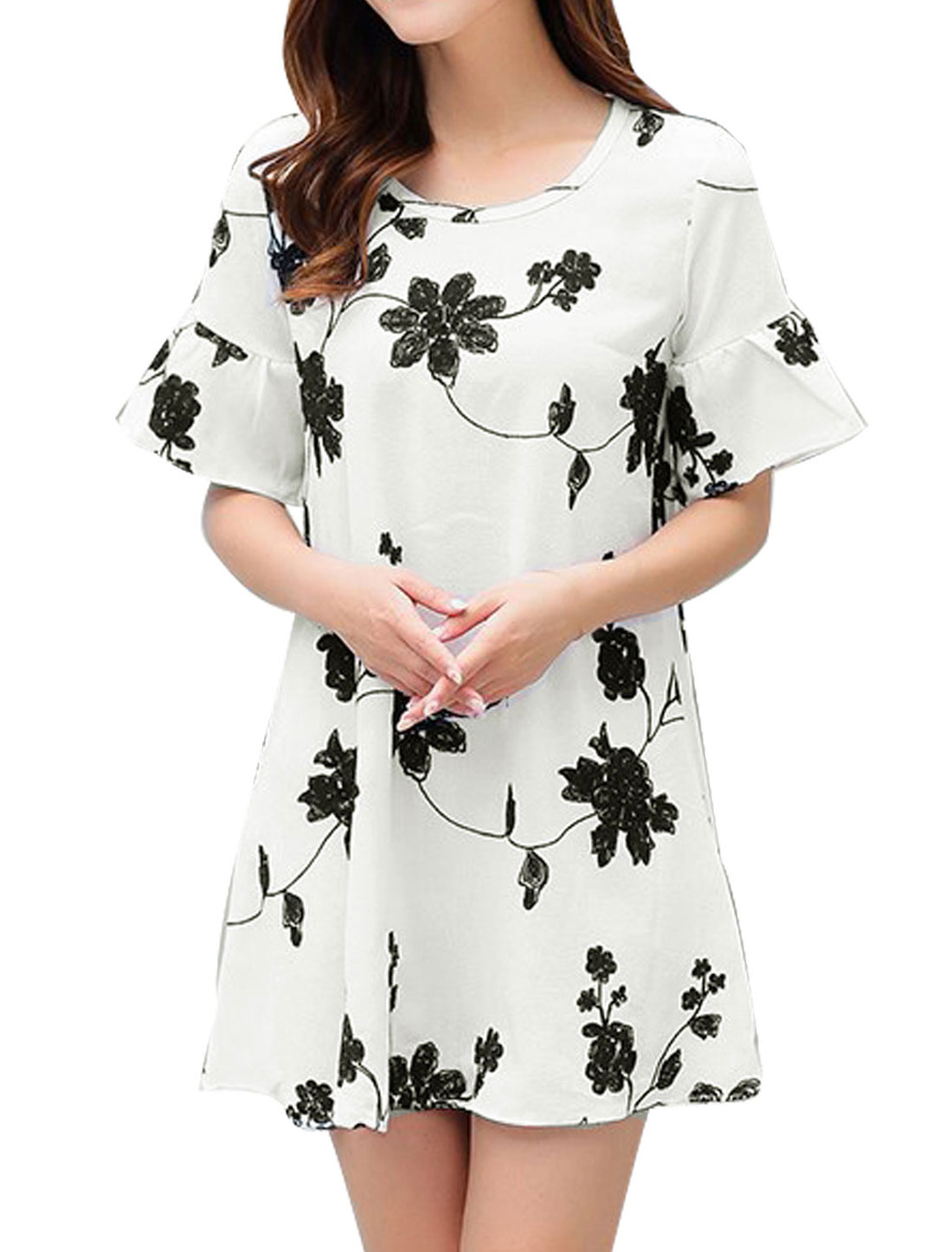 Women Round Neck Short Sleeves Flower Embroidery A Line Dress White M