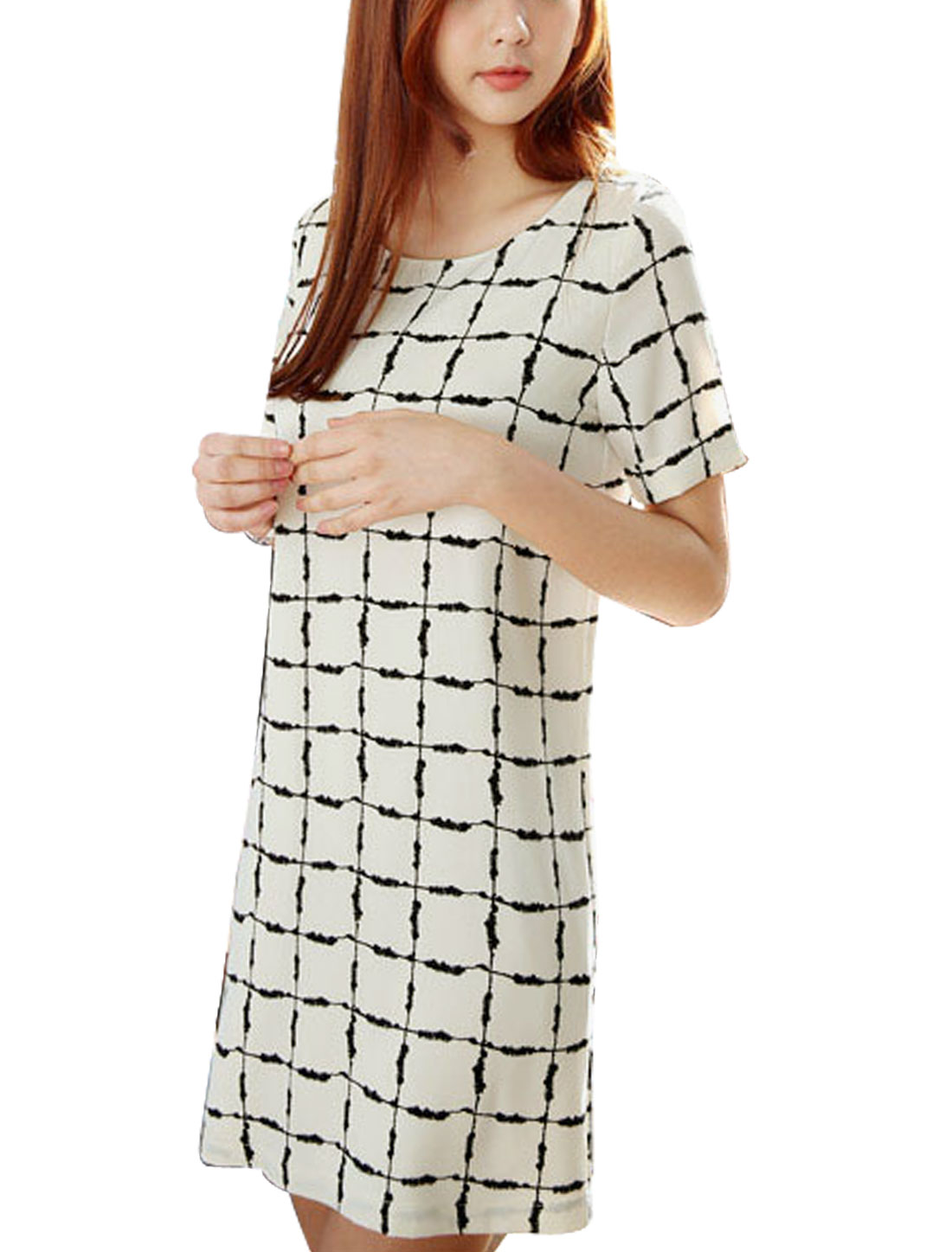 Woman Checks Round Neck Short Sleeves Fully Lined Dress White M