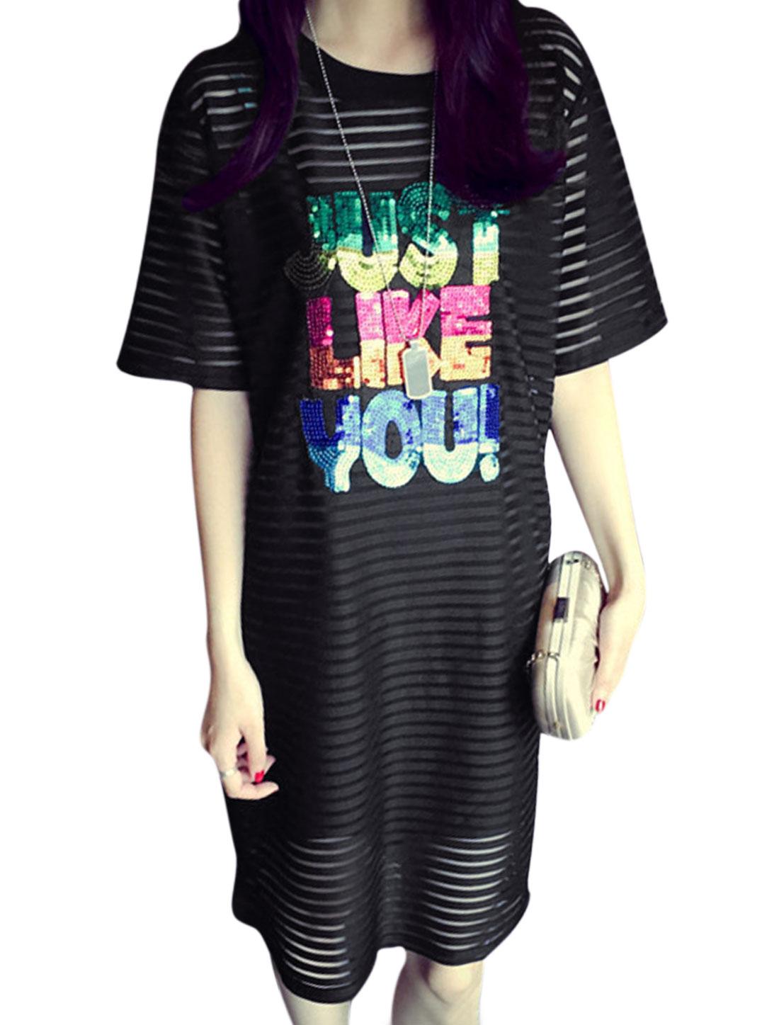 Lady Semi Sheer Straight Dress w Spaghetti Straps Tank Top Black S