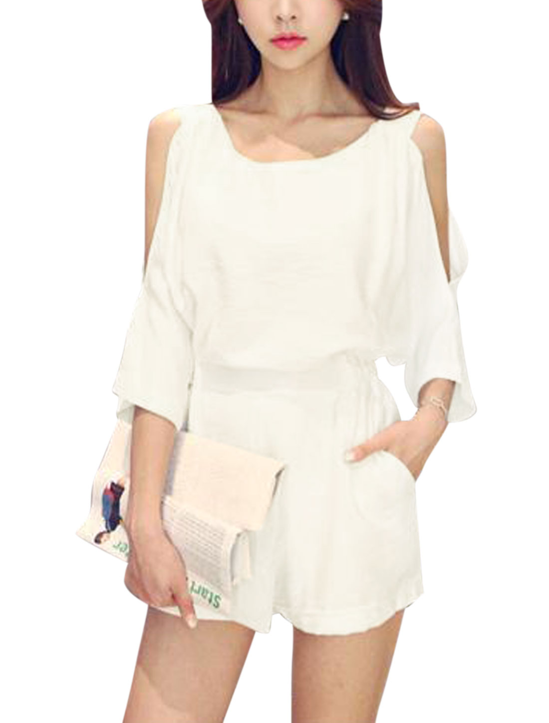 Women Round Neck Batwing Sleeve Cut Out Shoulder Pockets Casual Romper White M