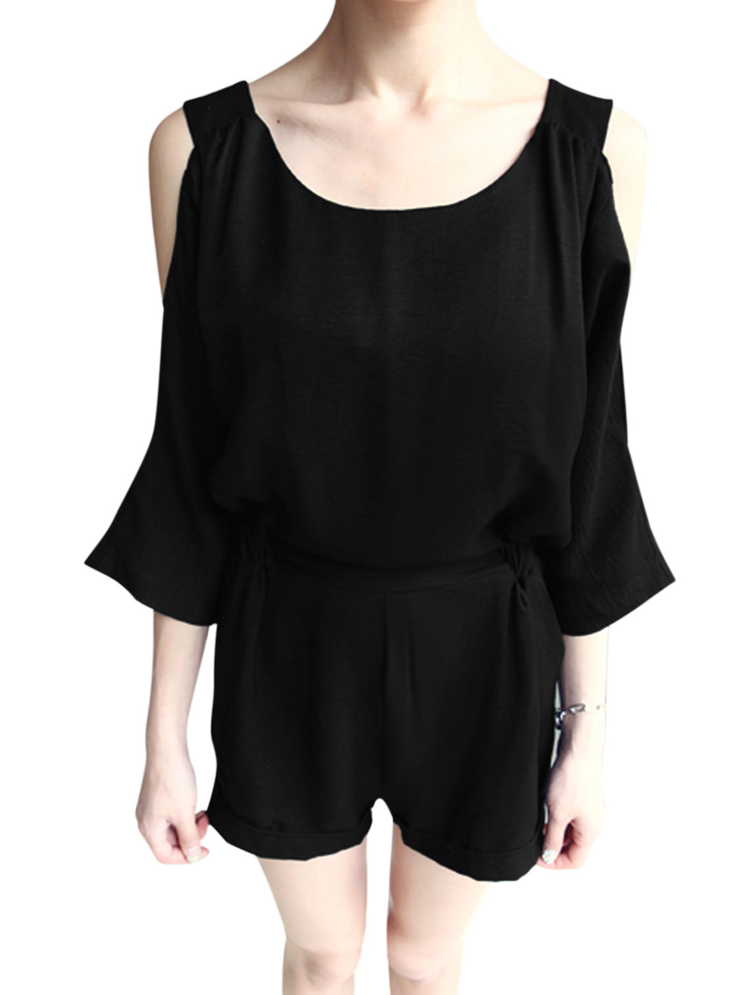 Women Batwing Sleeve Cut Out Shoulder Pockets Casual Playsuit Black M