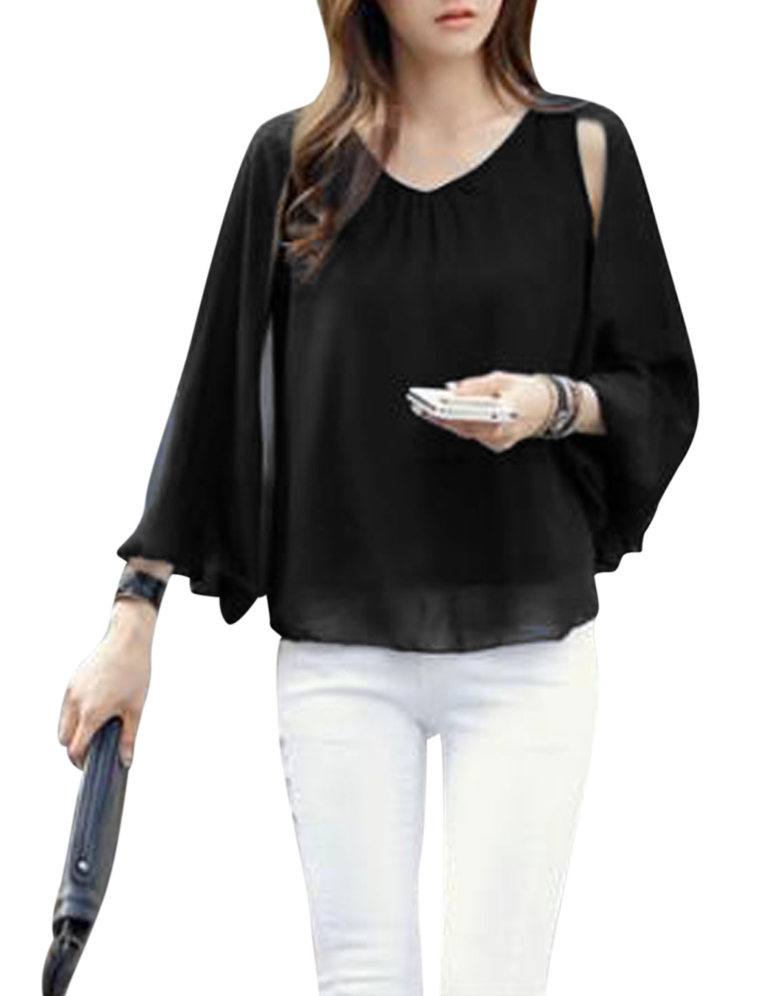 Women Sleeveless Round Neck Cape Style Layered Casual Blouse Black XS