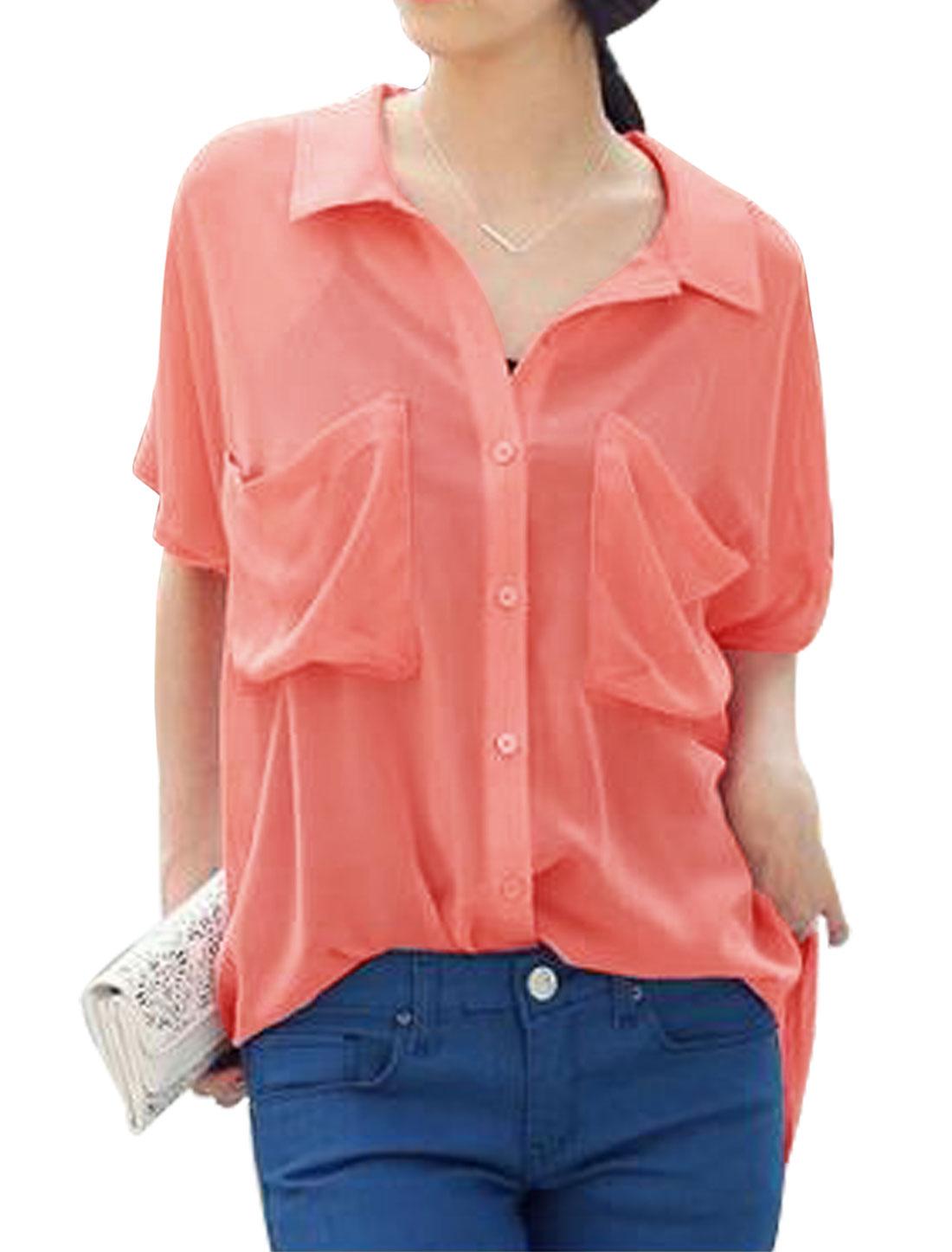 Woman Short Sleeves Point Collor High Low Hem Chiffon Tunic Shirt Watermelon Red S