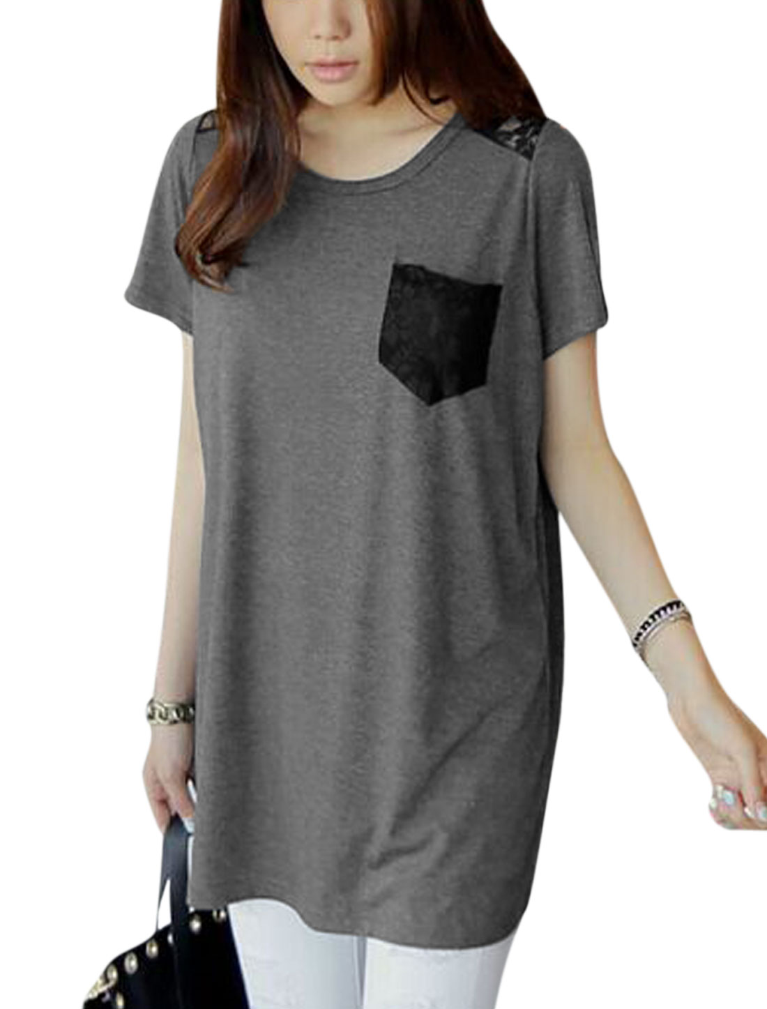 Women Round Neck Short Sleeves Lace Panel Bust Pocket Tunic T-Shirts Dark Gray S