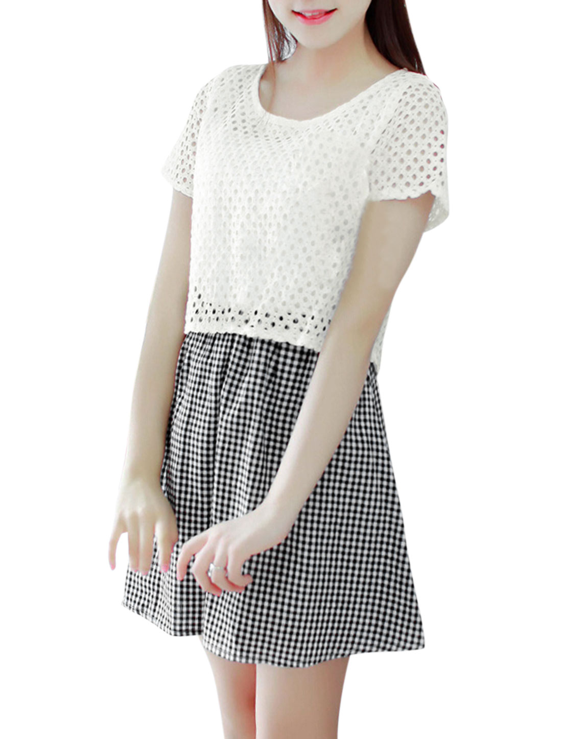 Woman Plaids Hollow Out Round Neck Layered Top A Line Dress Black White S
