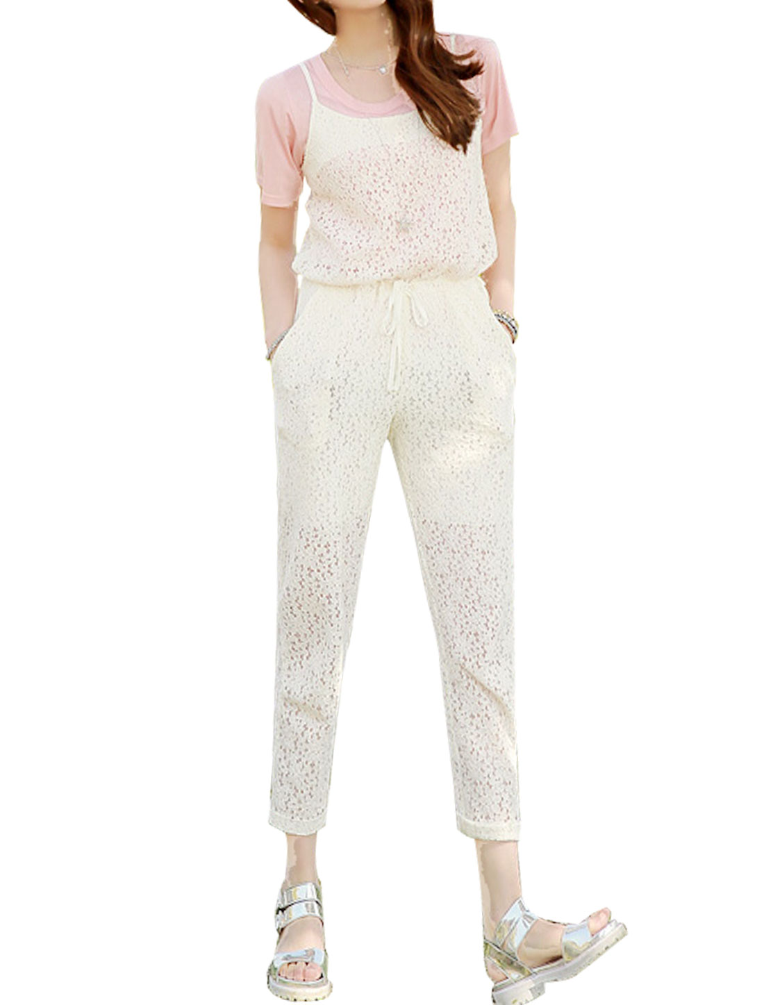 Woman Spaghetti Straps Hollow Out Lace All-over Cropped Jumpsuit White XS