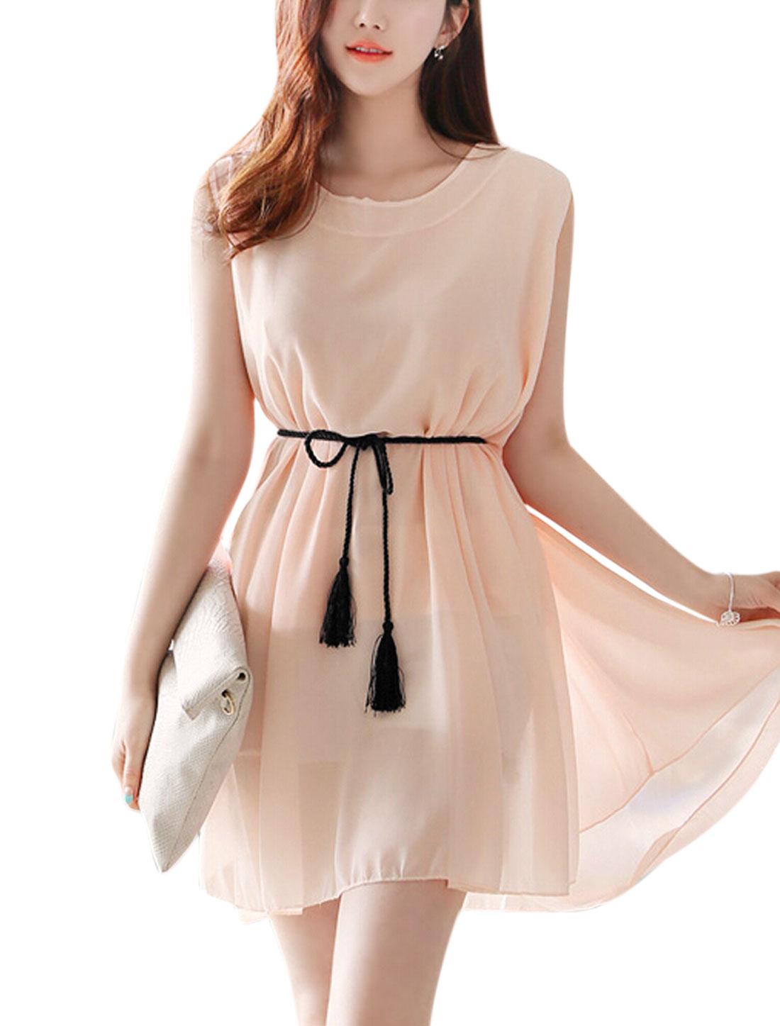 Women Round Neck Sleeveless w Waist String Summer Dress Pale Pink S