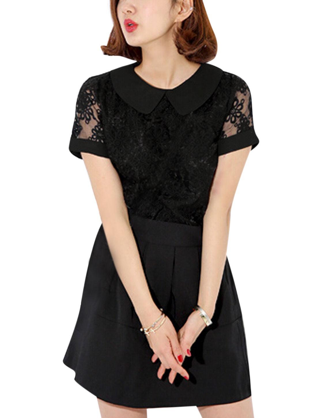 Ladies Short Sleeve Peter Pan Collar Organza Panel Casual Blouse Black XS