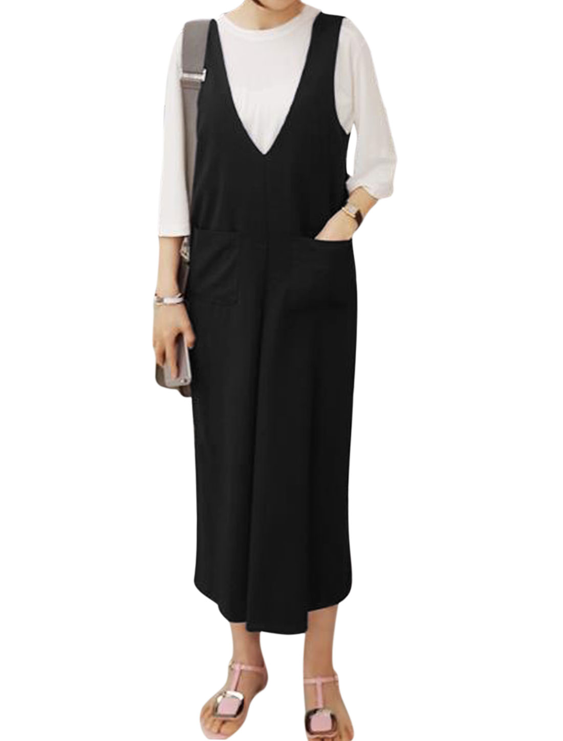 Women Deep V Neck Sleeveless Two Pockets Front Wide Leg Jumpsuits Black XS