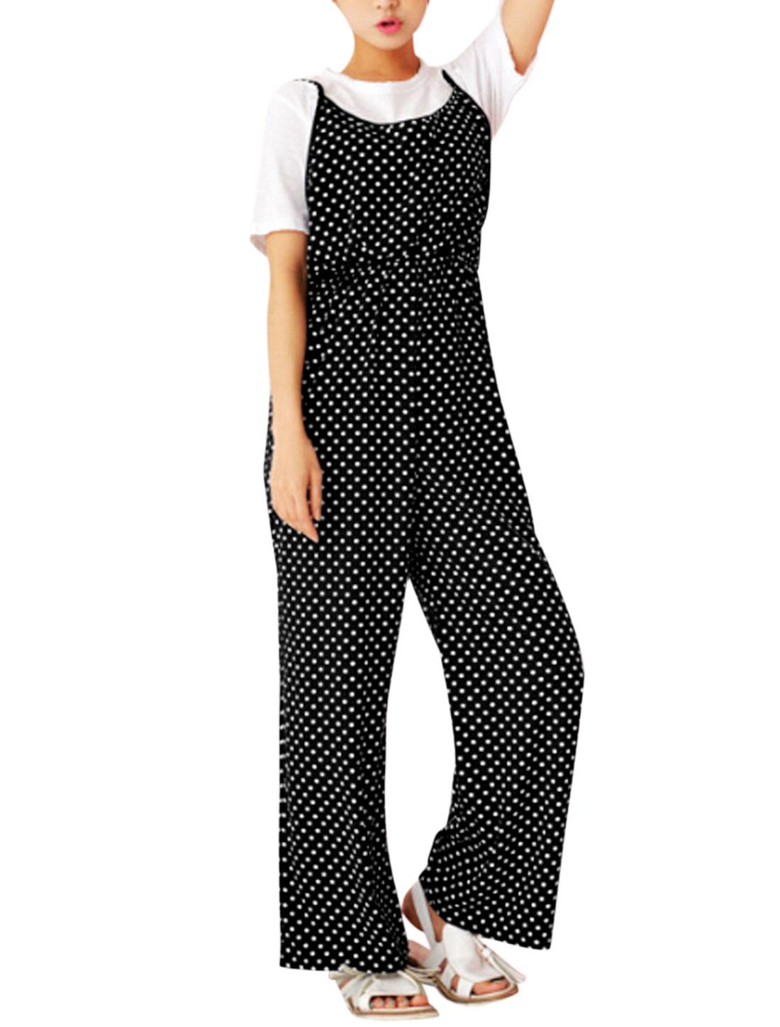 Woman Polka Dots Prints Spaghetti Straps Elastic Waist Jumpsuit Black S