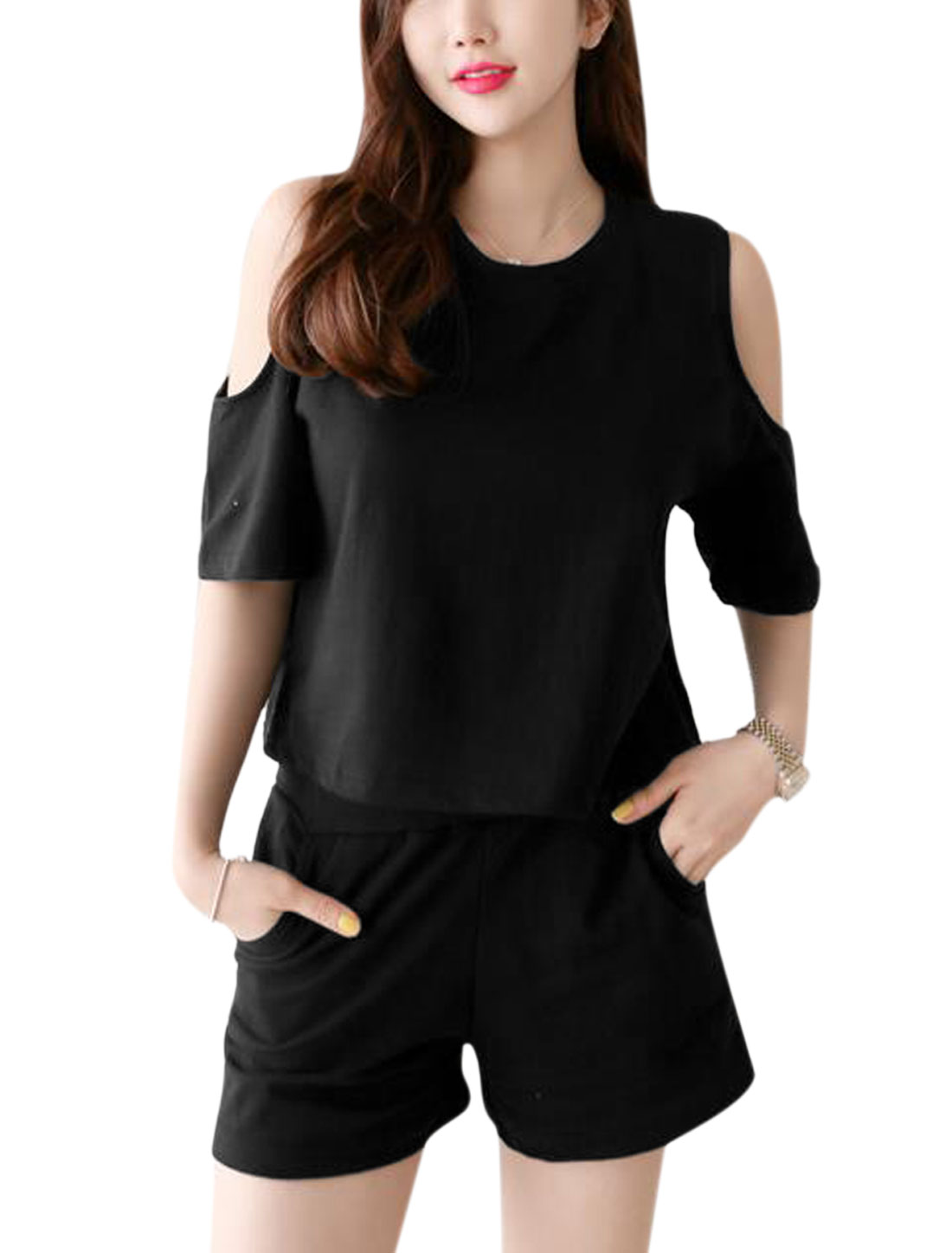 Woman Round Neck Cut Out Shoulder Top w Drawstring Waist Short Set Black XS