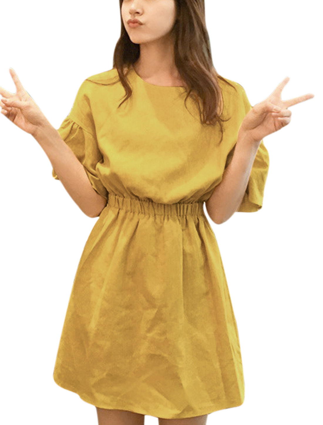 Ladies Round Neck Elbow Sleeve Unlined Elastic Waist Dress Curry XS