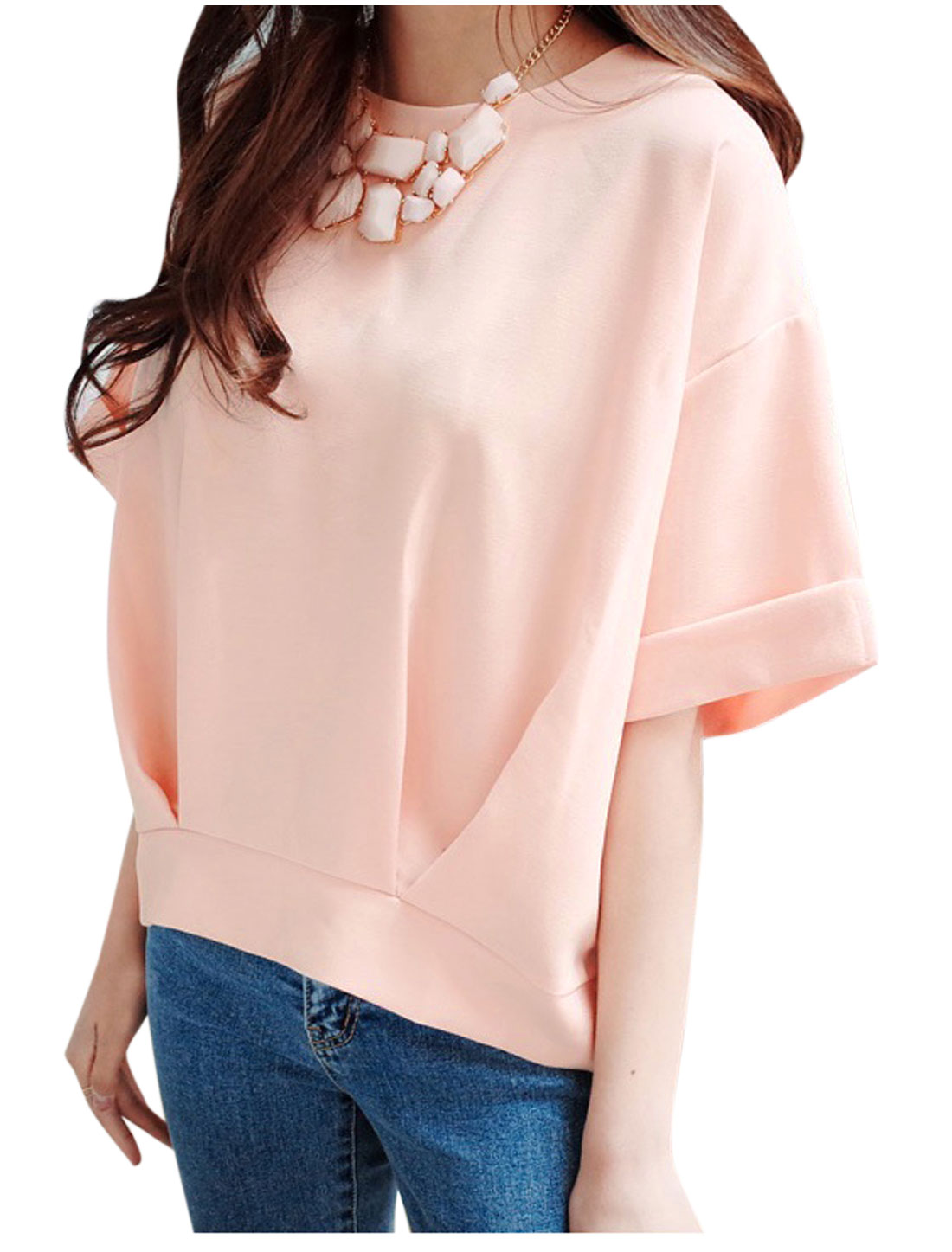 Woman Round Neck Short Sleeves Rolled Cuffs Ruched Detail Top Light Pink S
