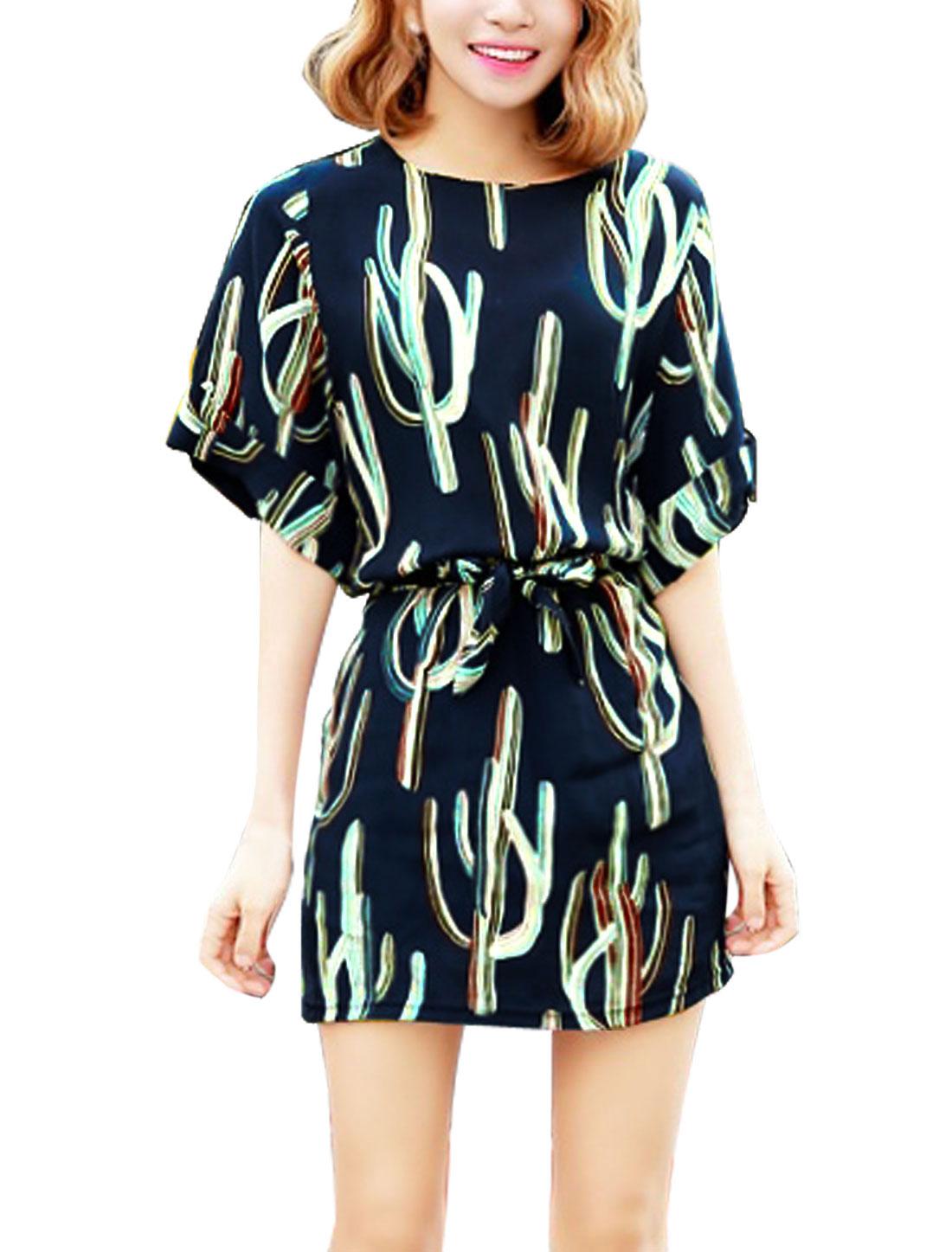 Women Elbow Sleeve Round Neck Novelty Print Casual Dress Navy Blue S