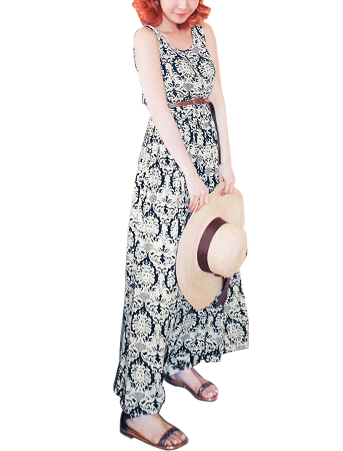 Women Scoop Neck Sleeveless Floral Print Unlined Maxi Dress Navy Blue Beige S