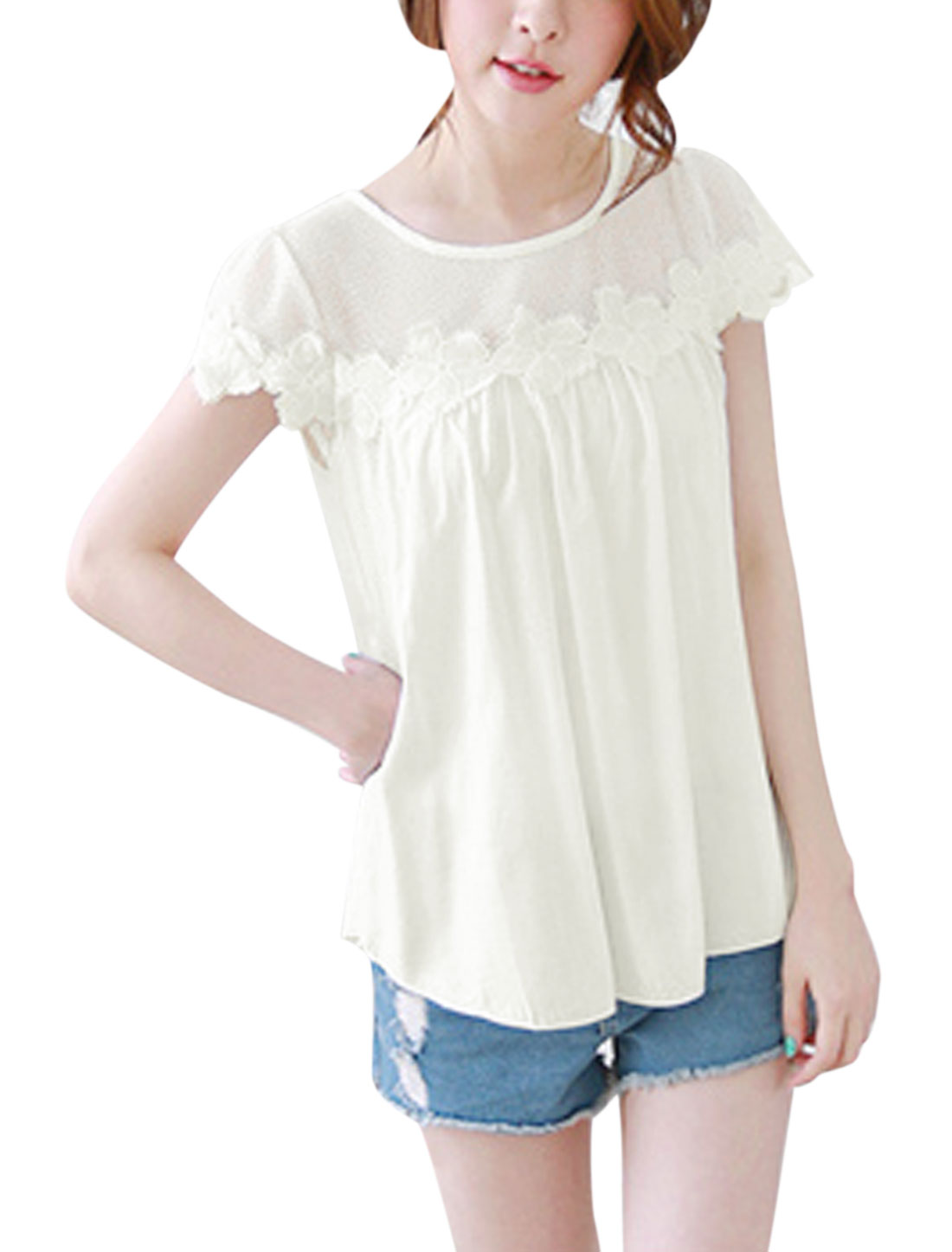 Women Round Neck Short Sleeve Hollow Out Crochet Casual Blouse Beige S