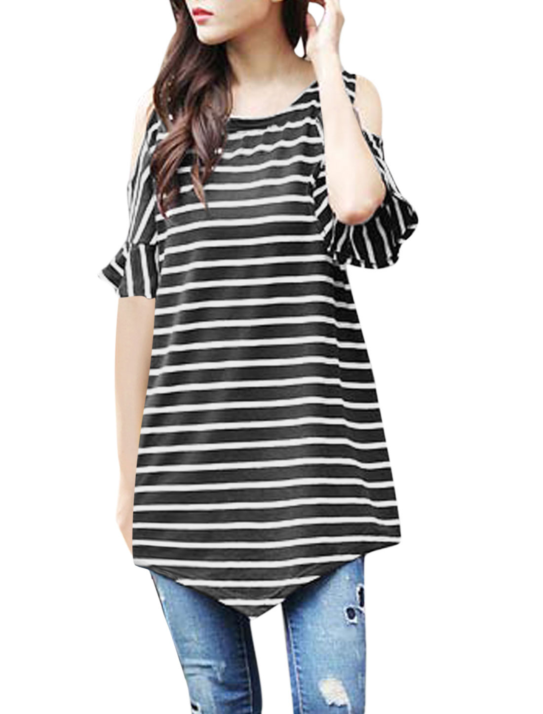 Woman Stripes Cut Out Shoulder Asymmetric Hem Round Neck Tunic Top Black White S