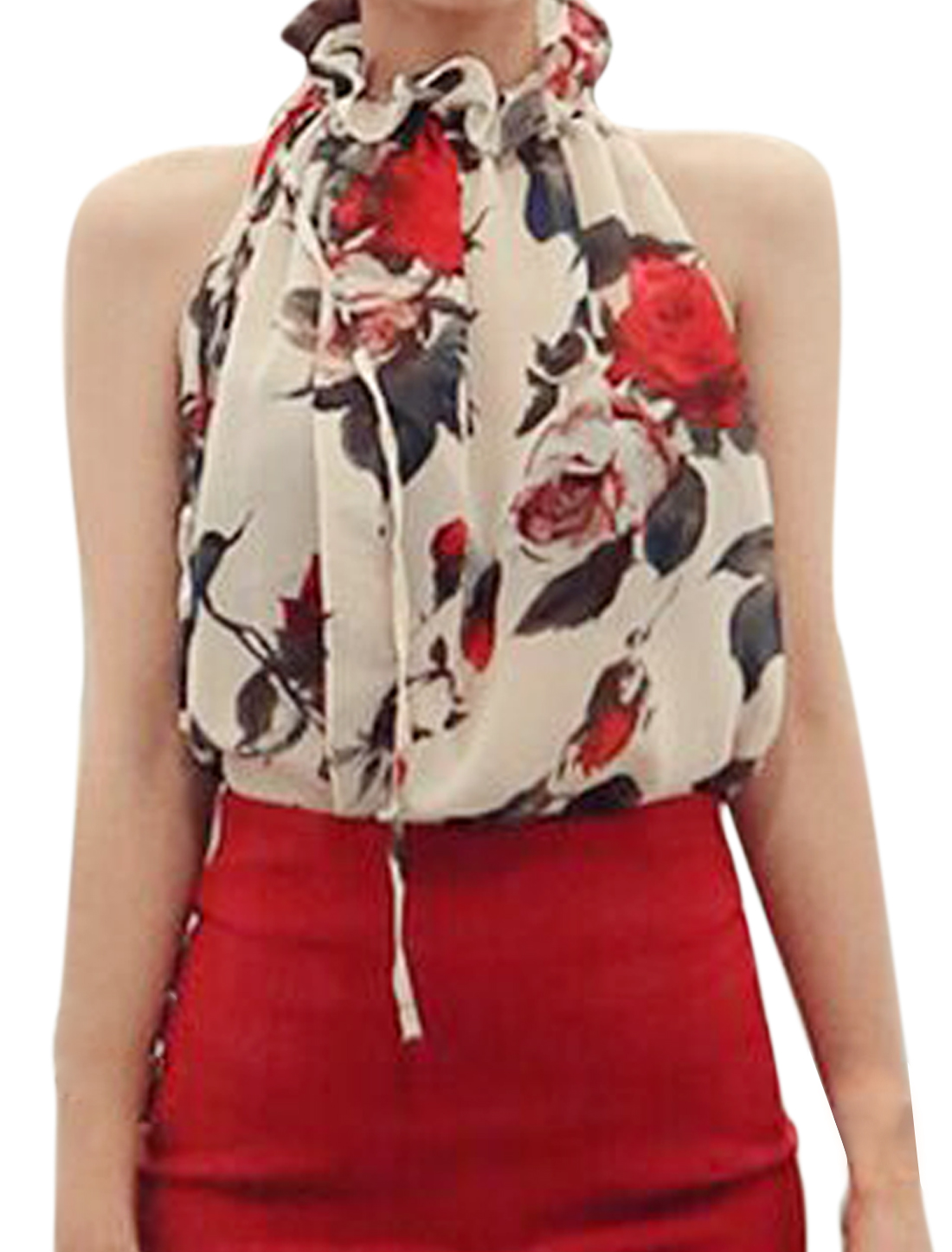 Women Sleeveless Tie Neck Floral Print Casual Chiffon Top Beige Red M