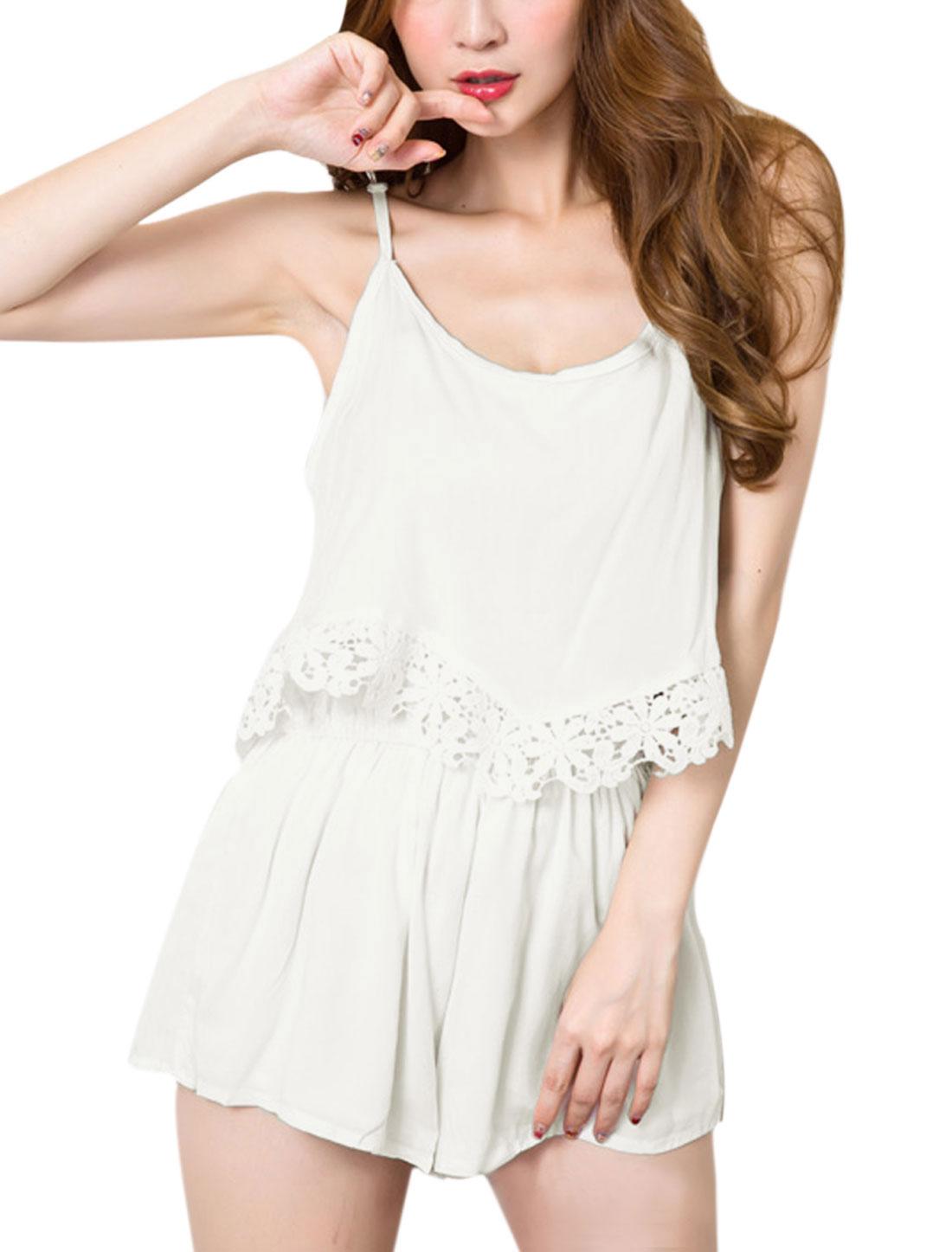 Women Scoop Neck Sleeveless Crochet Trim Casual Romper White S