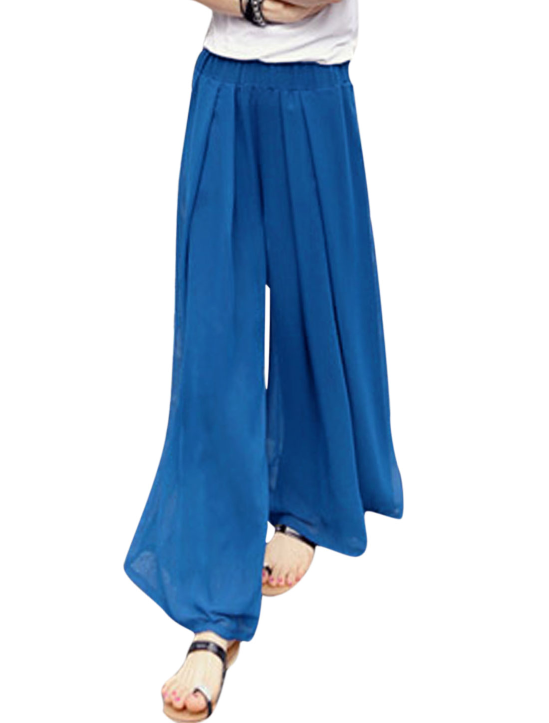 Women Mid Rise Elastic Waist Fully Lined Wide Leg Casual Pants Royal Blue XS