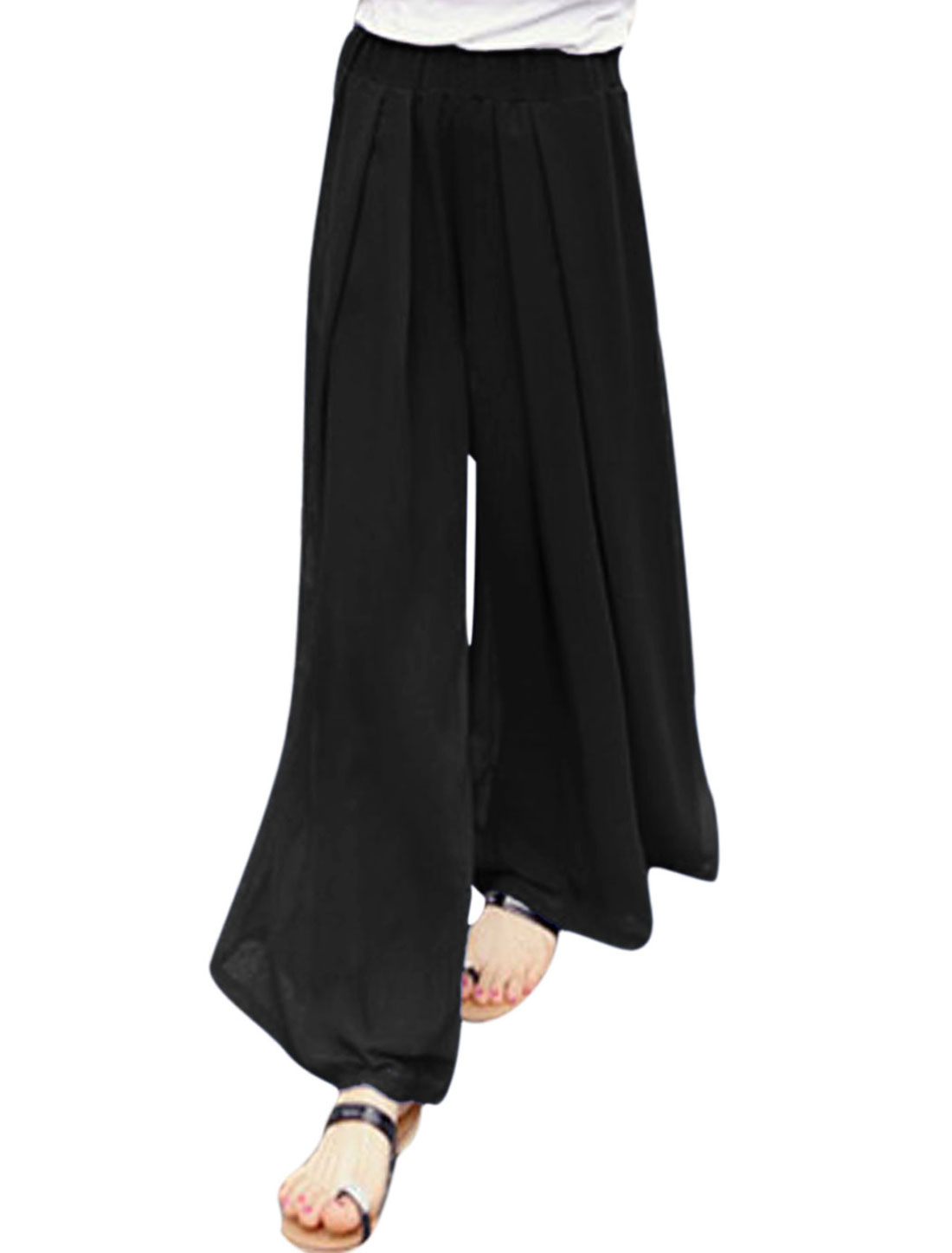 Ladies Mid Rise Elastic Waist Fully Lined Wide Leg Loose Pants Black XS