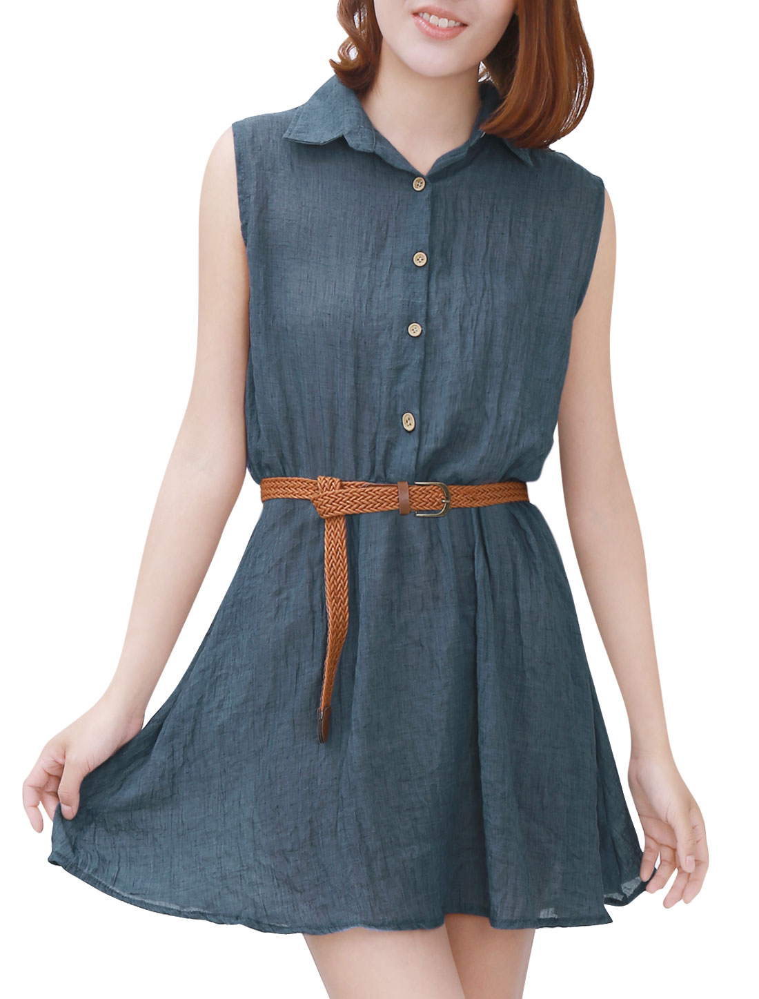 Women Sleeveless Point Collar Elastic Waist Shirt Dress w Belt Navy Blue S