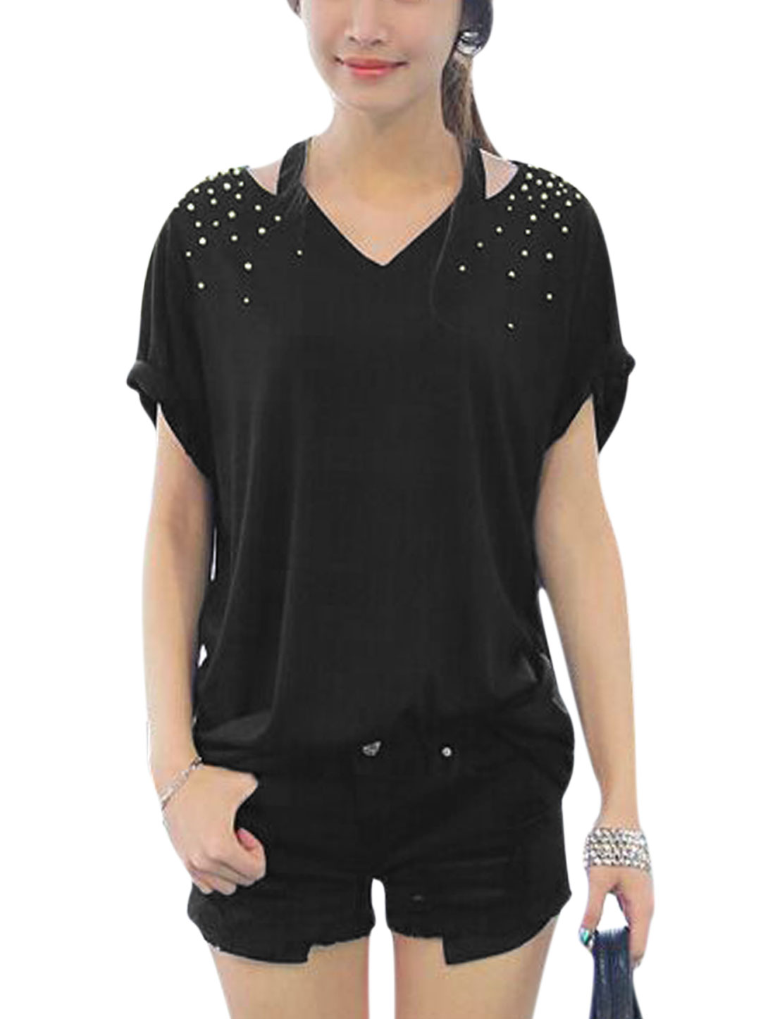 Woman Beaded V Neck Cut Out Upper Short Sleeves Tunic Top Black XS