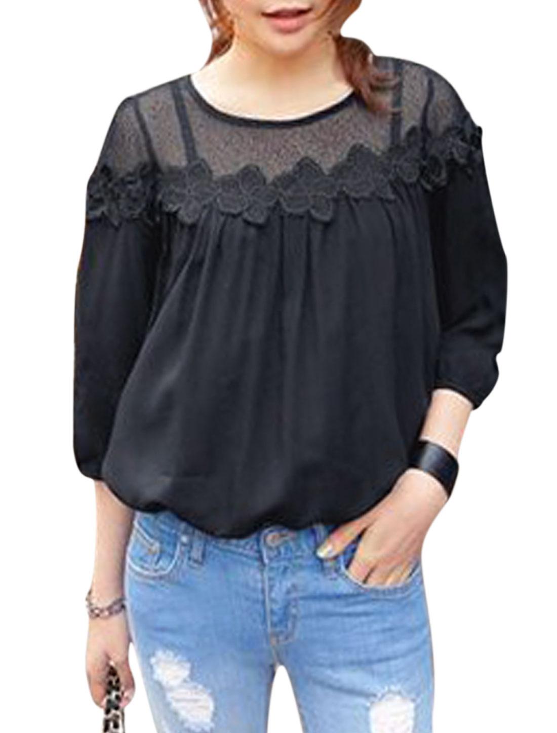 Woman Mesh Panel Crochet Design 3/4 Sleeves Round Neck Top Black S