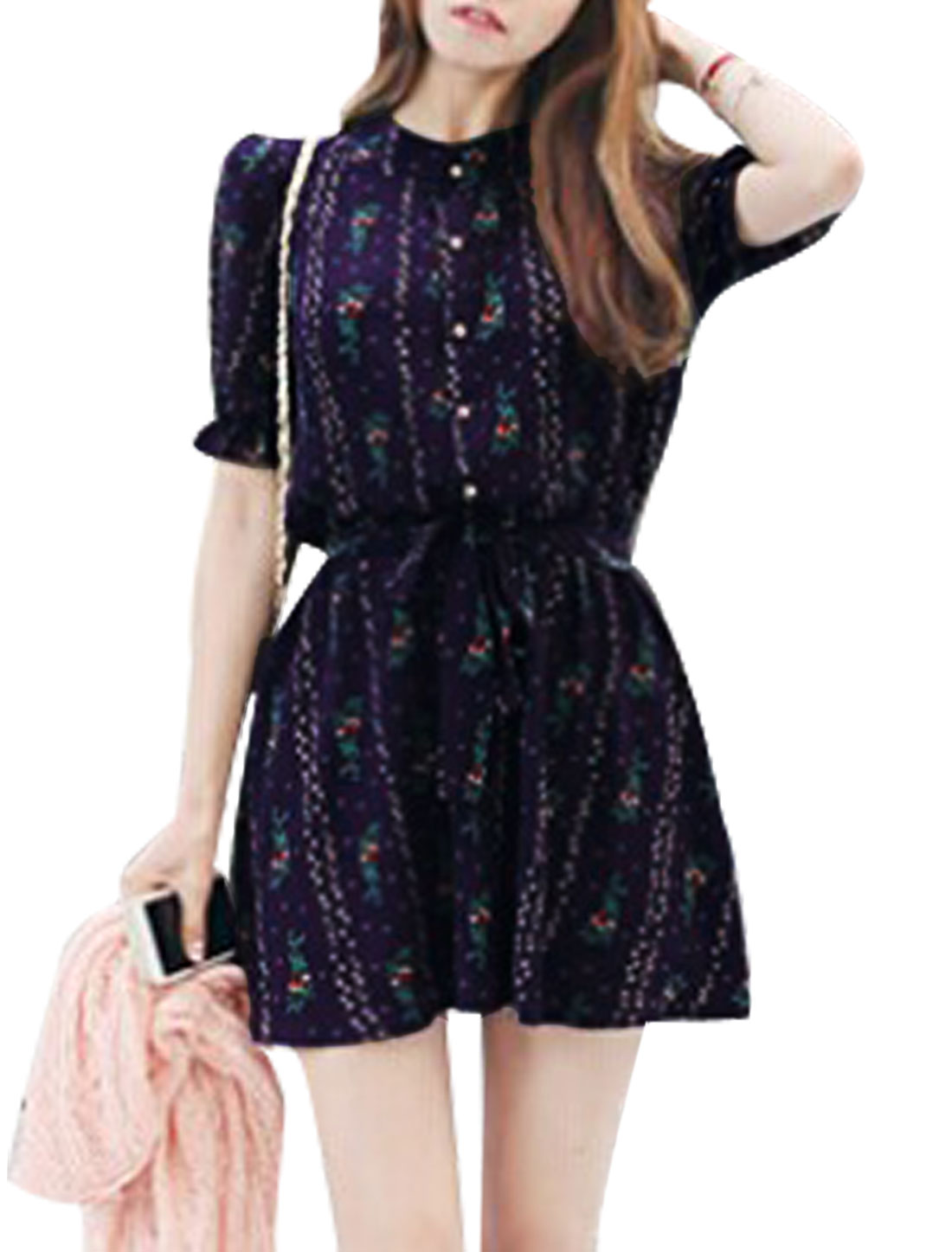 Woman Floral Prints Short Sleeves Belted A Line Dress Dark Blue S