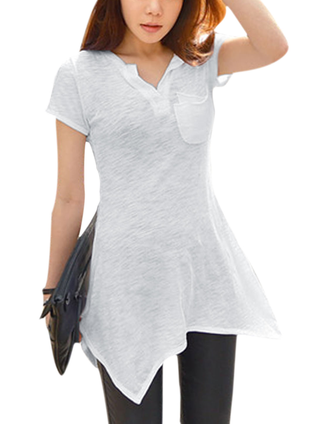 Women Split Neck Short Sleeves Asymmetric Hem Tunic Shirts White XS