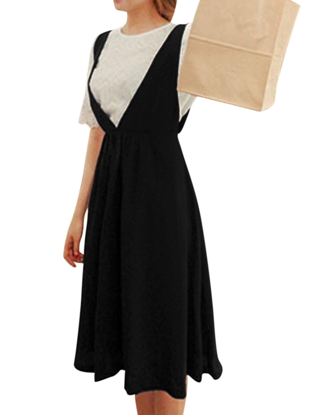 Women Sleeveless Elastic Waist Unlined Suspender Skirt Black S