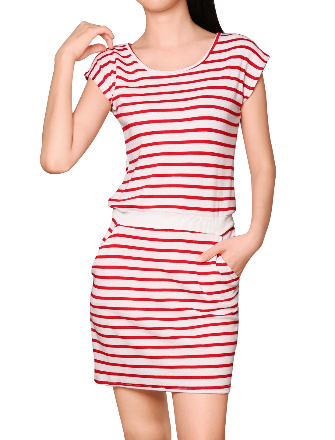 Women Round Neck Sleeveless Stripes Unlined Casual Dresses Red White M