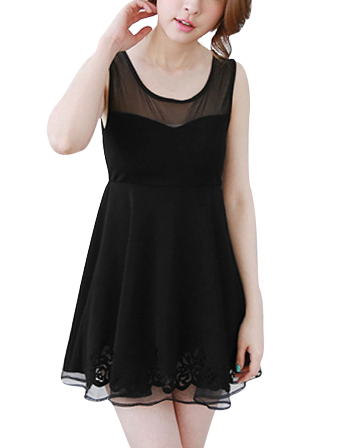 Women Round Neck Sleevleess Mesh Panel Partial Lined Dress Black S