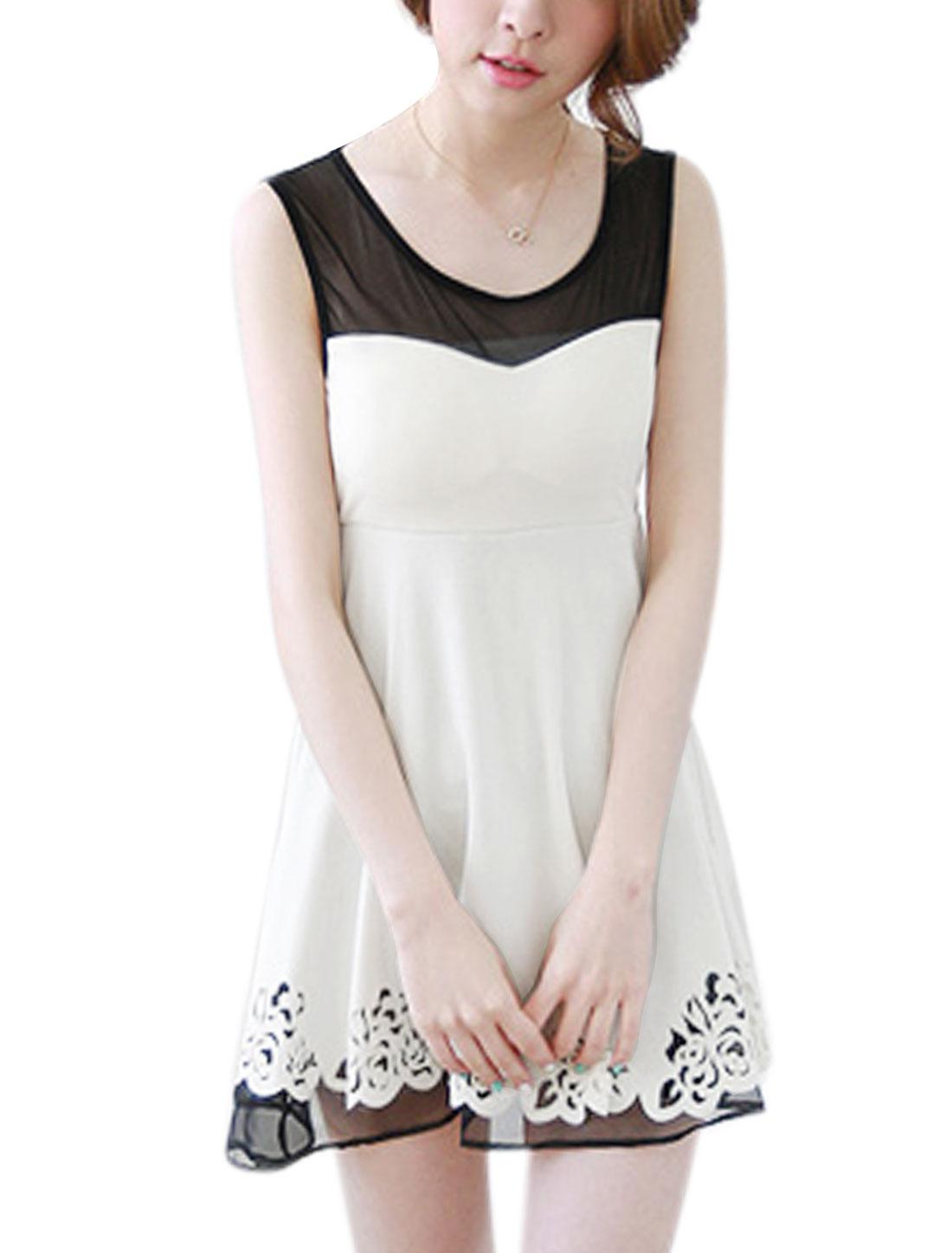 Lady Sleeveless Mesh Panel Embossed Partial Lined Skater Dress White S
