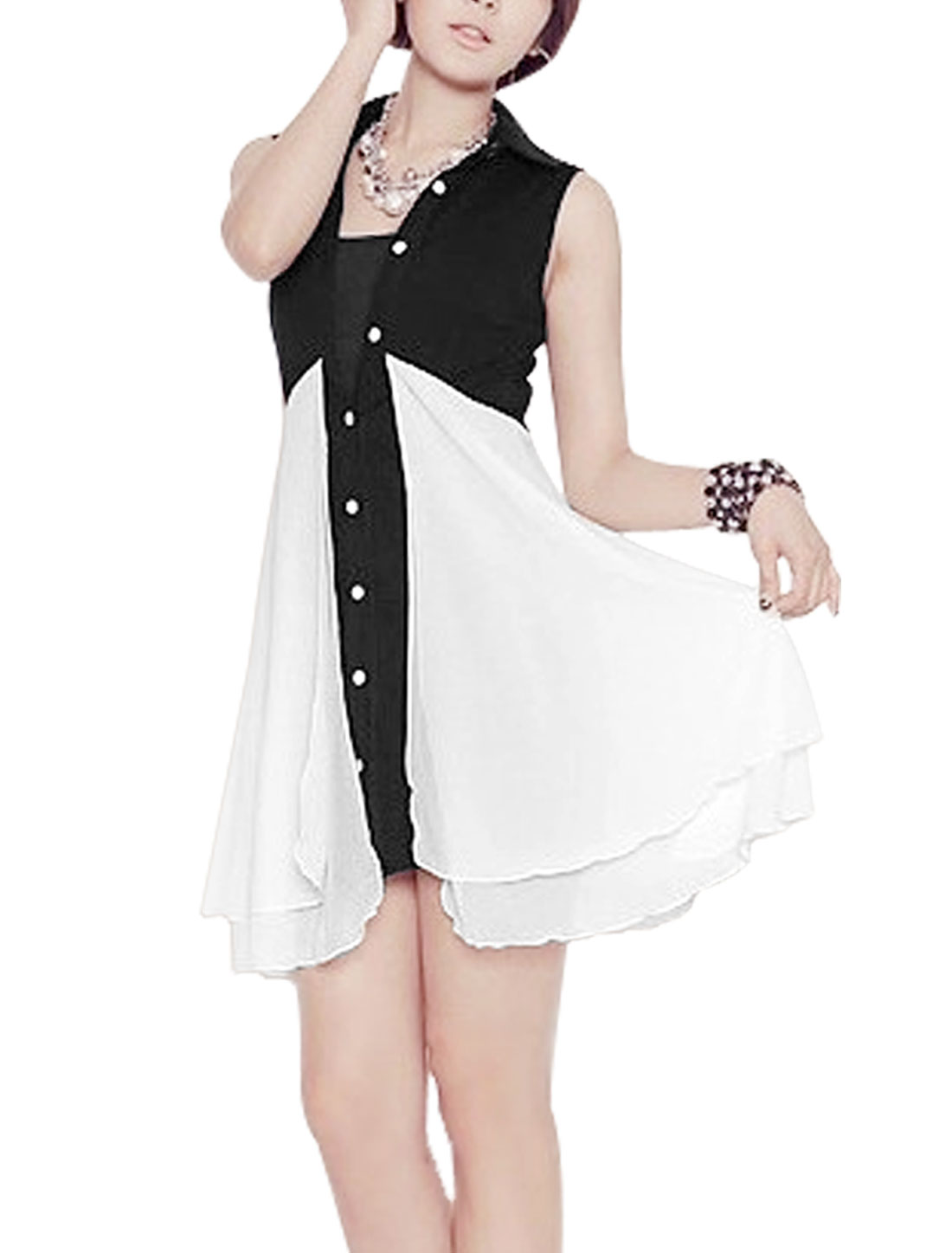 Lady Point Collar Sleeveless Color Block Chiffon Tunic Shirt Dress Black White M