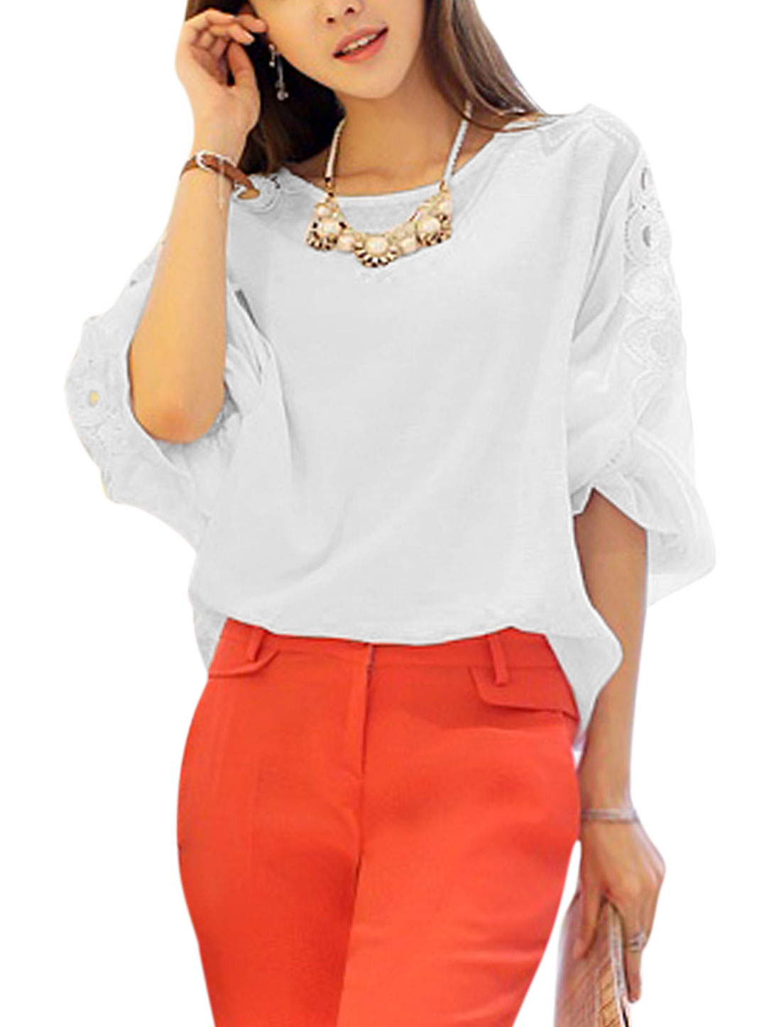 Women Round Neck 3/4 Sleeves Hollow Out Casual Tops White XS