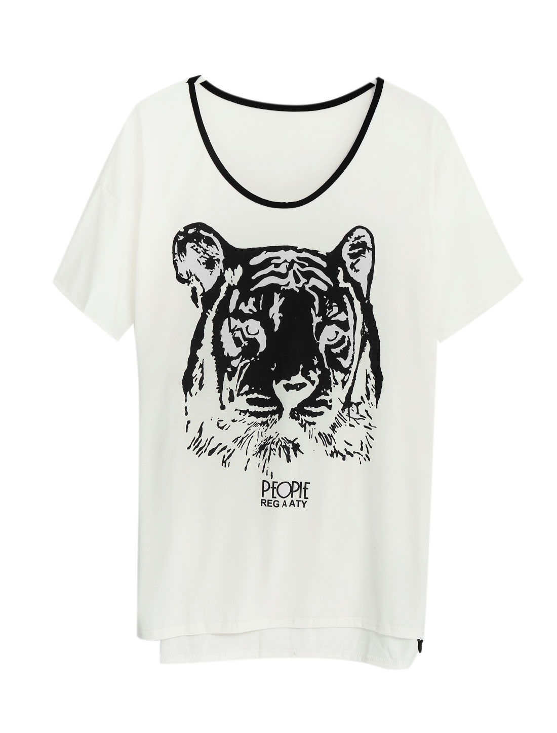 Women Tiger Pattern Elbow Sleeves High Low Hem Blouse White M