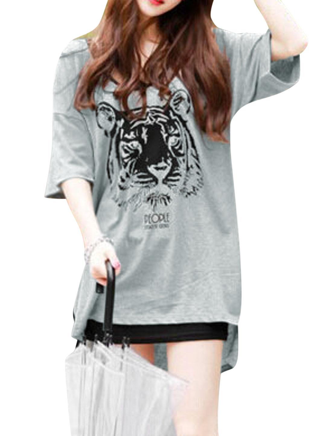 Ladies Tiger Print Elbow Sleeves High Low Hem Tunic Tops Gray M