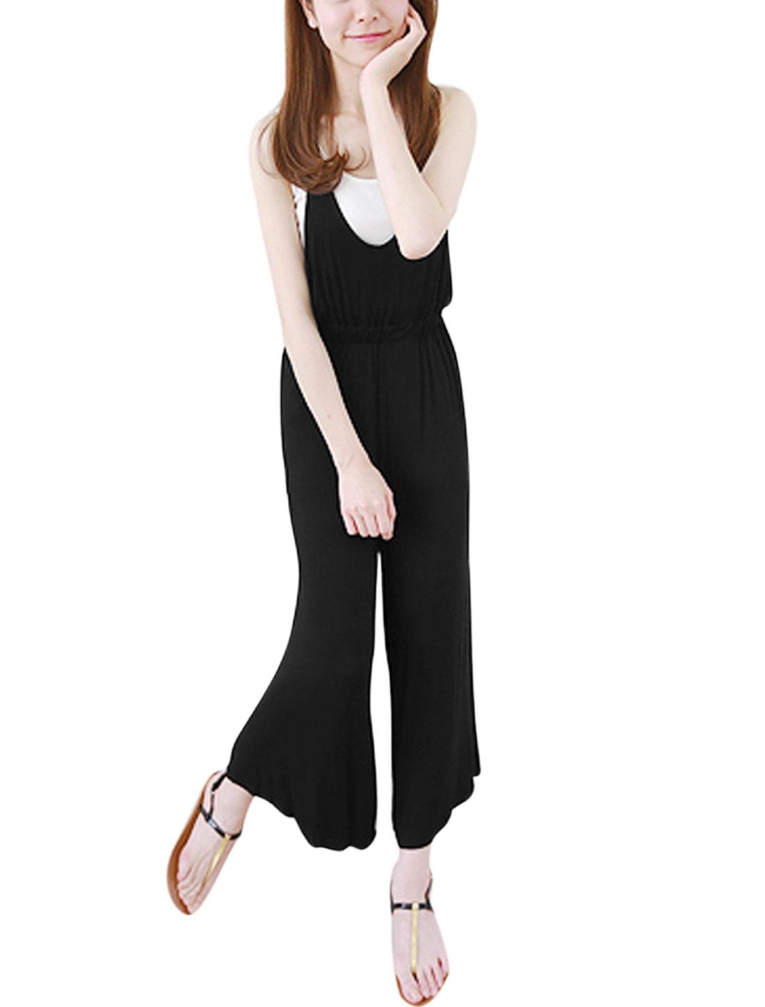 Women Halter Neck Sleeveless Elastic Waist Wide Leg Suspender Pants Black XS