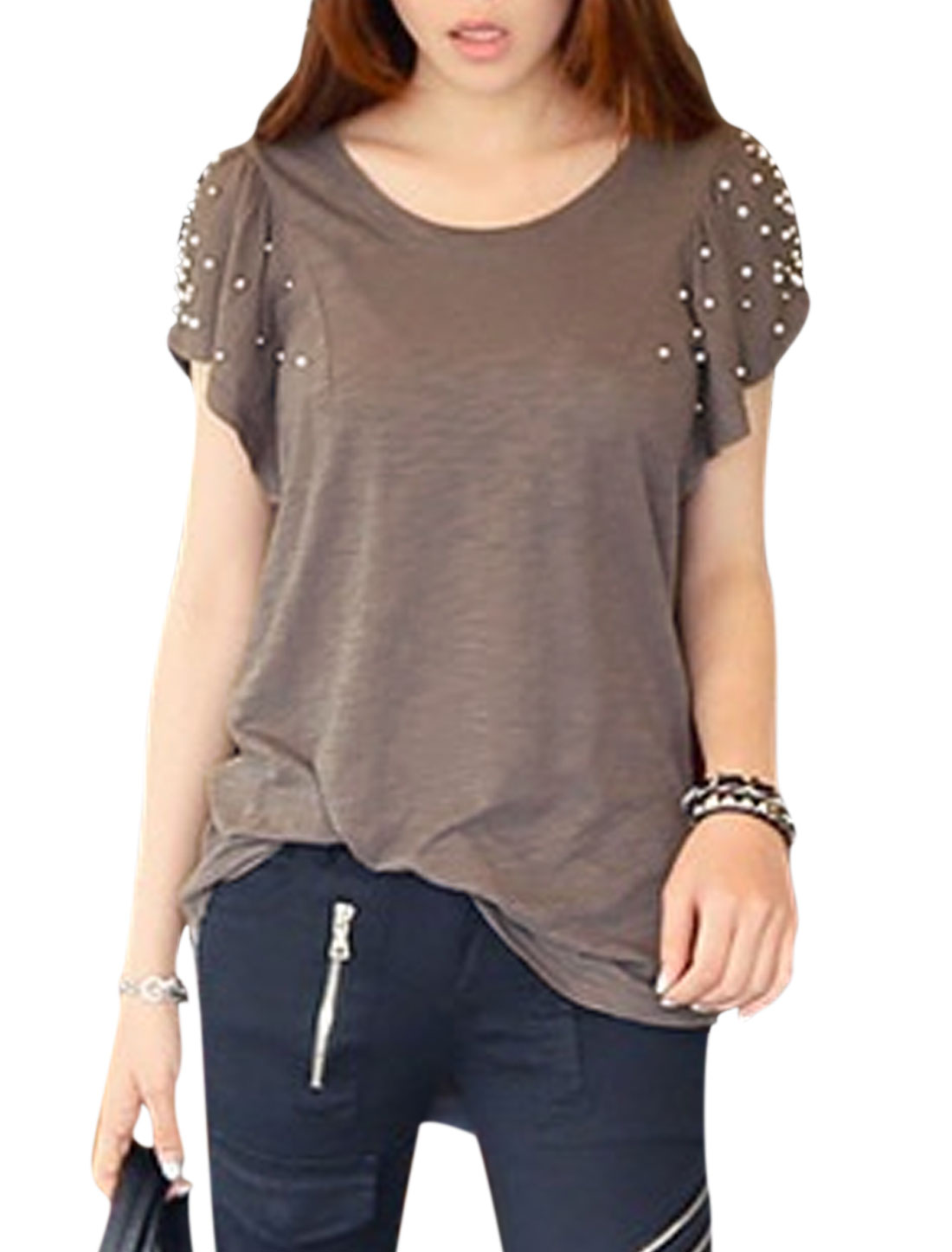 Woman Beaded Short Sleeves Scoop Neck Casual Tunic Top Pewter S
