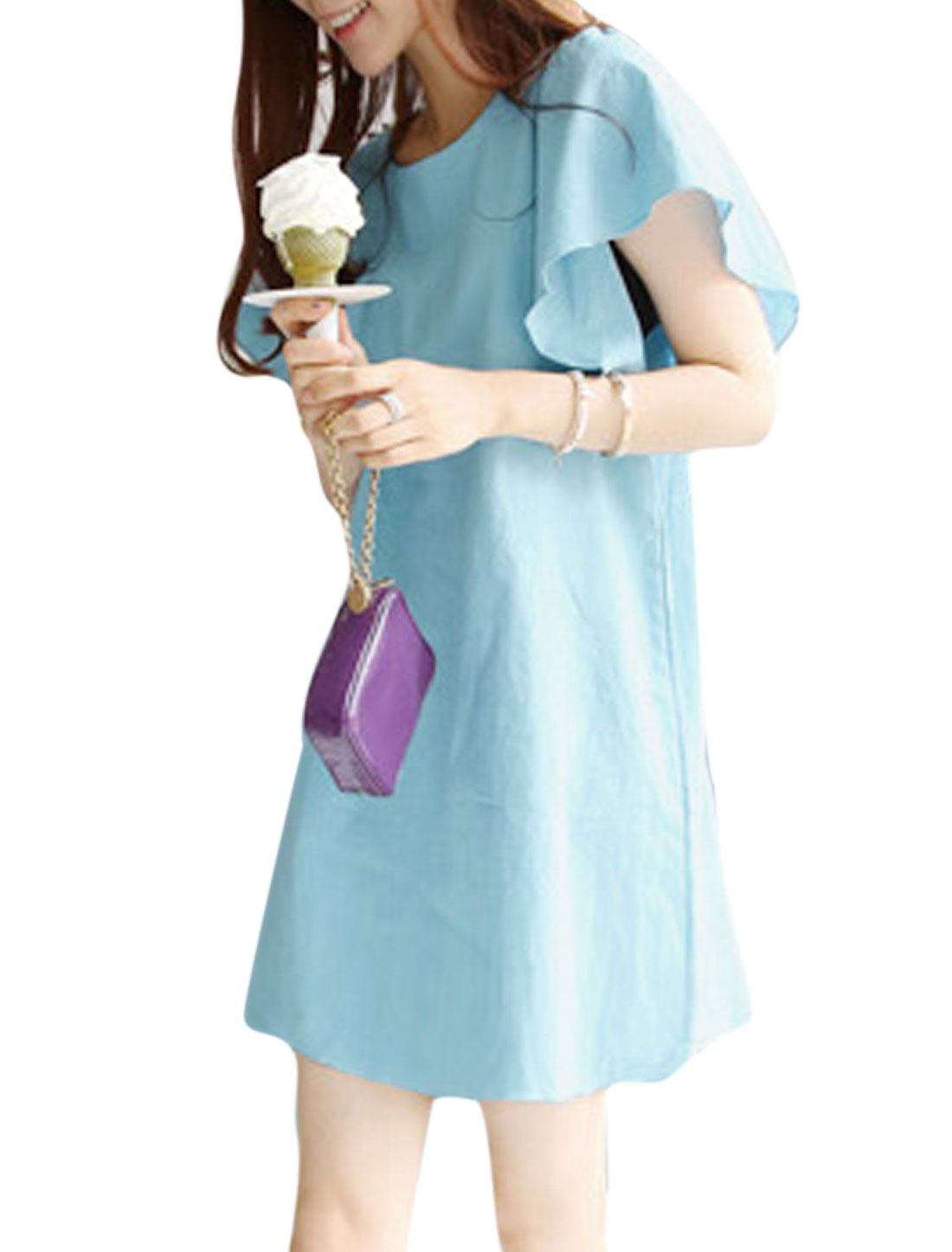 Woman Round Neck Butterfly Sleeves Bowknot Decor Back Tunic Dress Light Blue M