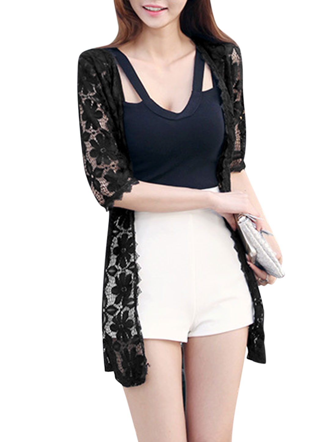 Women Elbow Sleeve Hollow Out Longline Summer Casual Cardigans Black XS