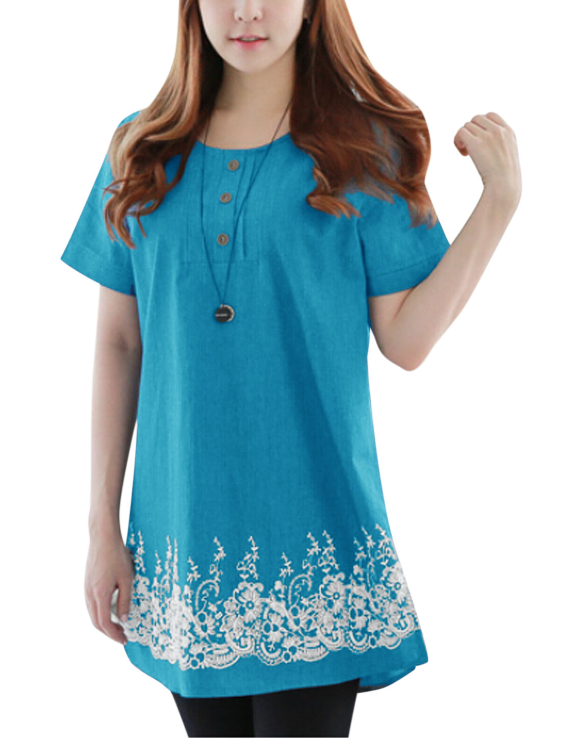Women Round Neck Short Sleeves Floral Prints Casual Tunic Tops Blue XS