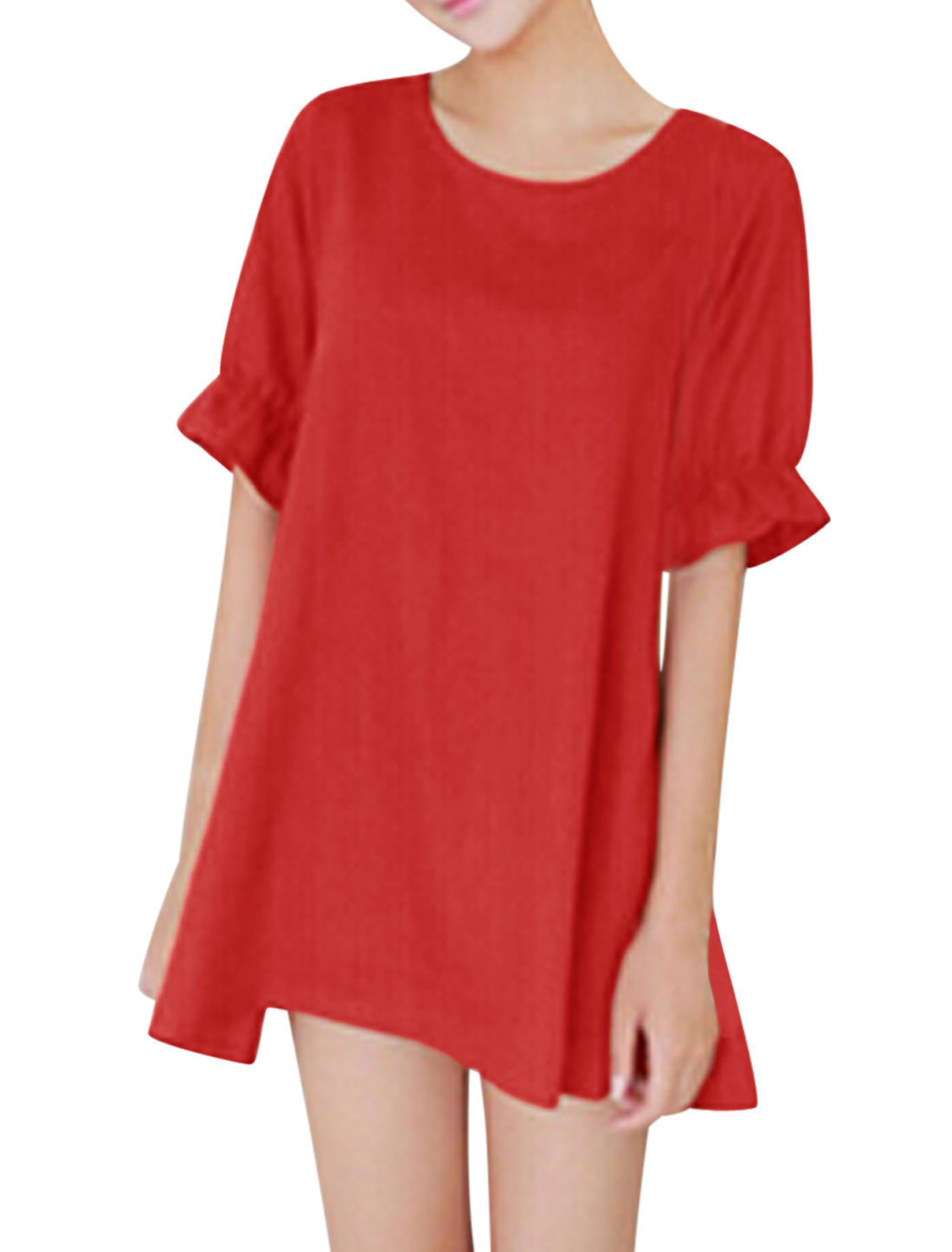 Woman Round Neck Short Sleeves Cut Out Bowknot Decor Back Tunic Dress Red XS